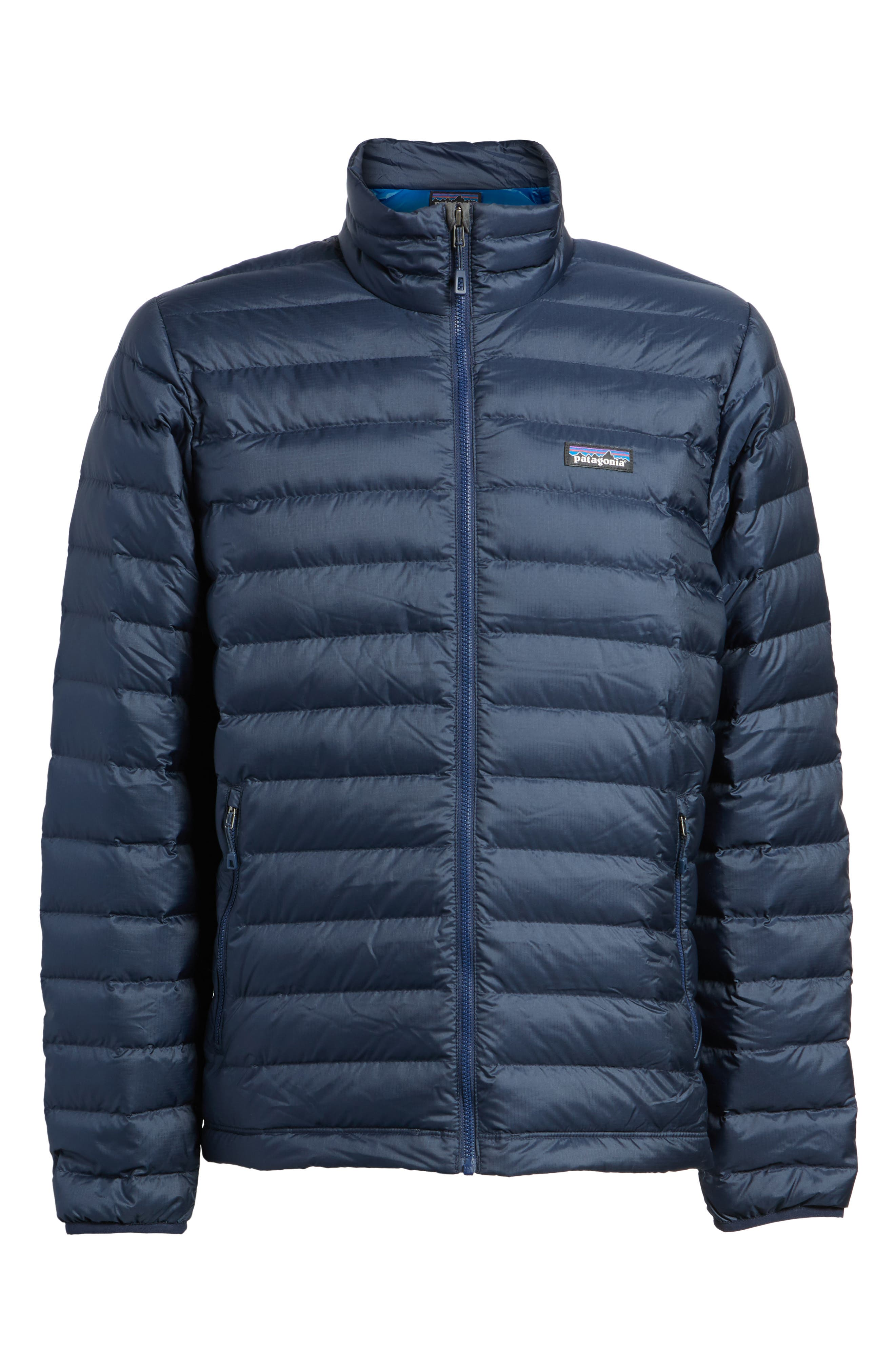 PATAGONIA, Water Repellent Down Jacket, Alternate thumbnail 6, color, NAVY BLUE W/ NAVY BLUE