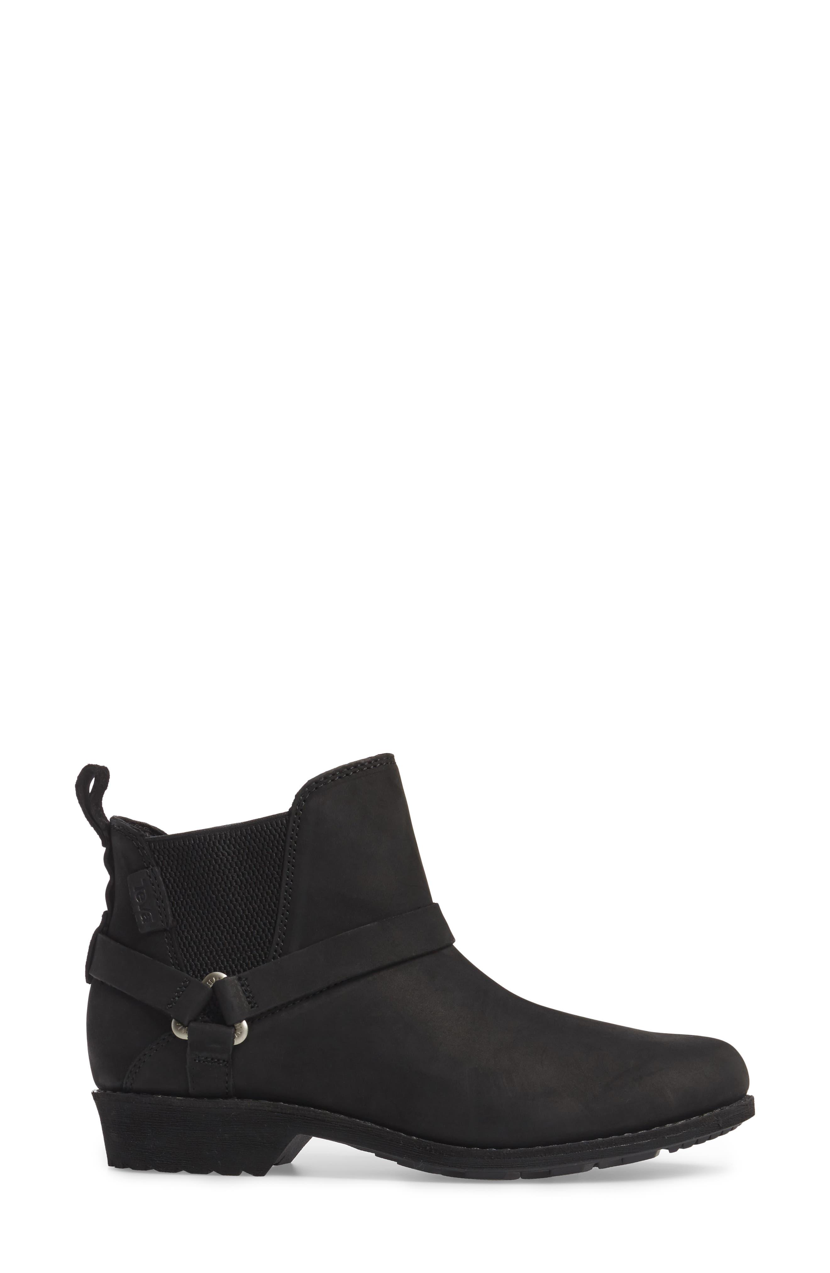 TEVA, De La Vina Dos Waterproof Chelsea Boot, Alternate thumbnail 3, color, BLACK LEATHER