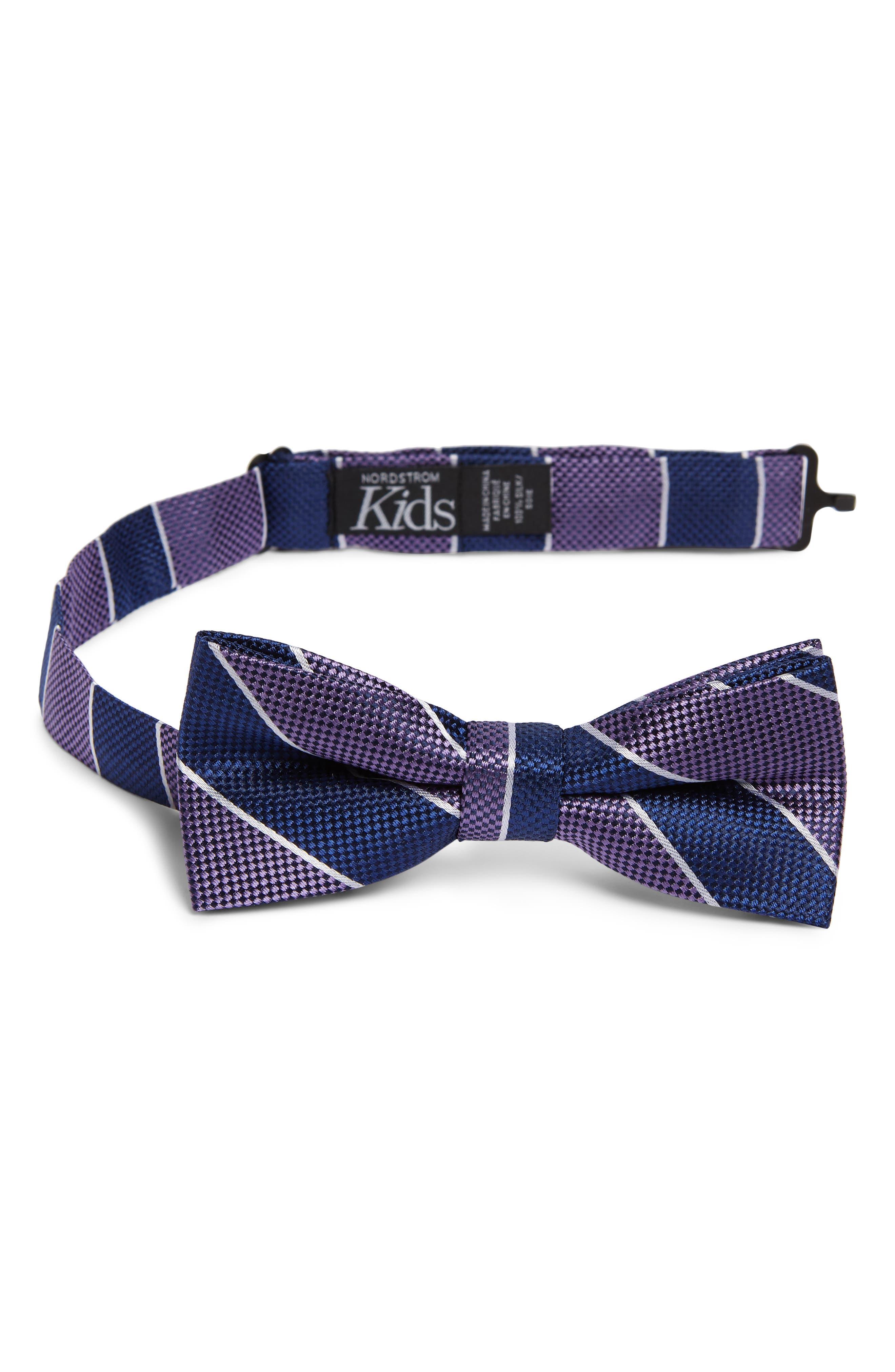 NORDSTROM, Harrison Stripe Silk Bow Tie, Main thumbnail 1, color, PURPLE