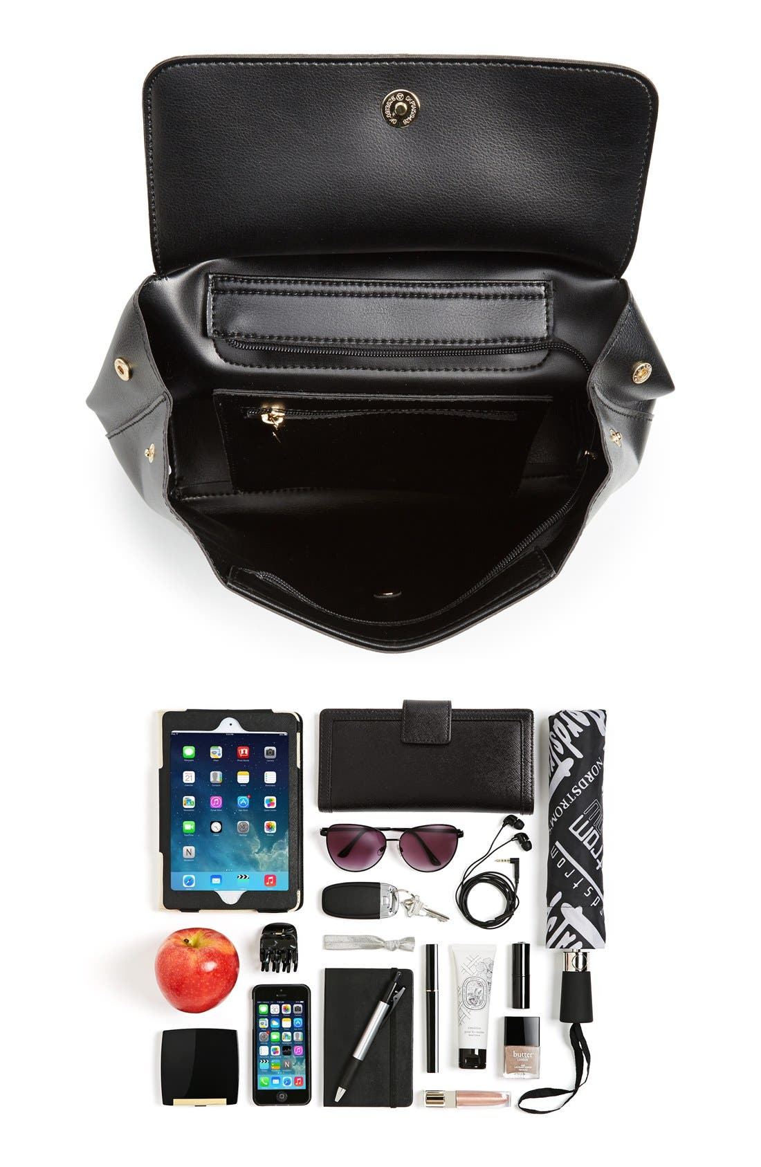 BP., 'Minimal Flap' Faux Leather Backpack, Alternate thumbnail 5, color, 001