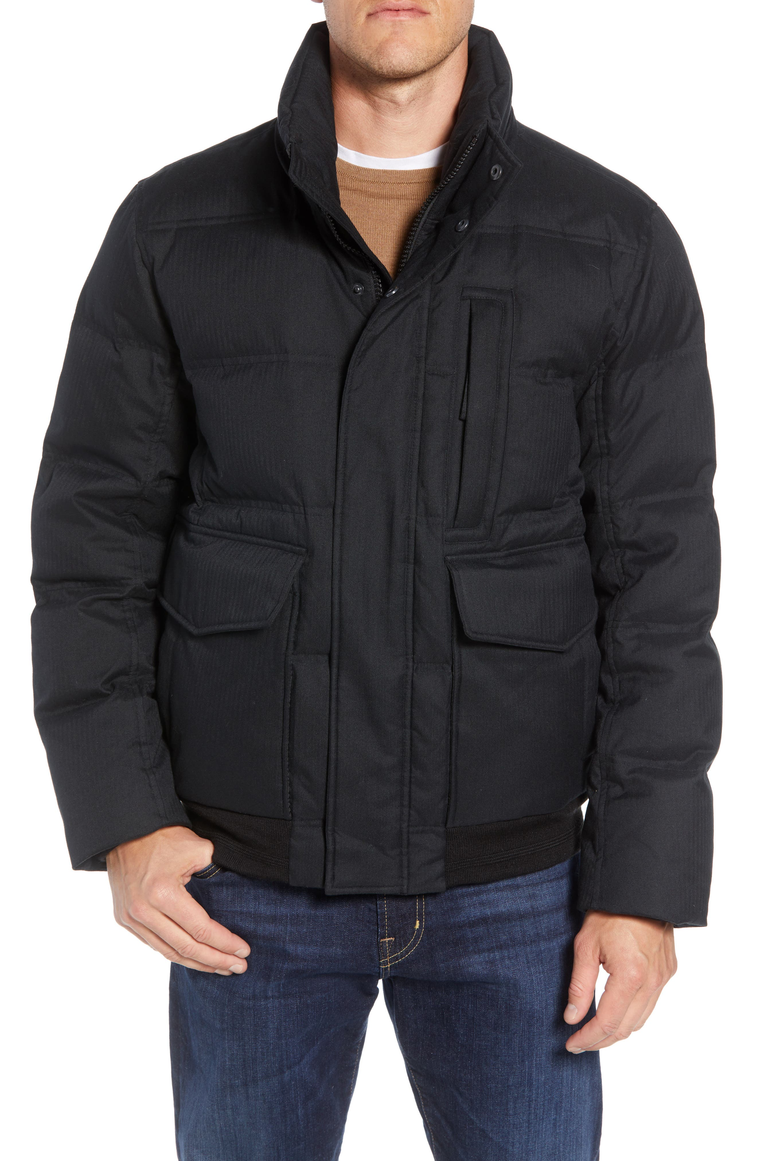 MARC NEW YORK, Bohlen Down & Feather Bomber Jacket with Removable Genuine Coyote Fur Trim Hood, Alternate thumbnail 2, color, BLACK