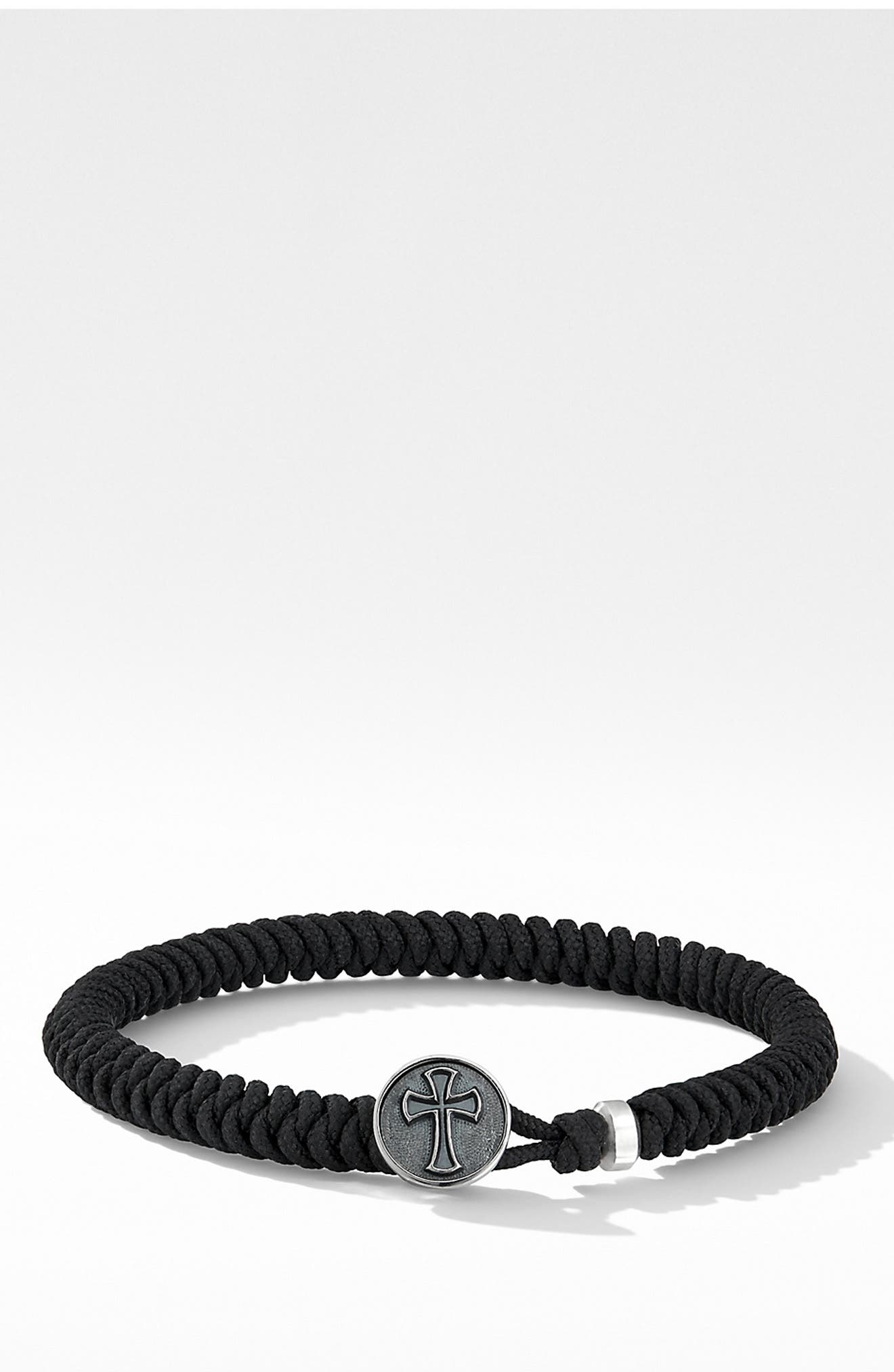 DAVID YURMAN Woven Cross Bracelet, Main, color, BLACK