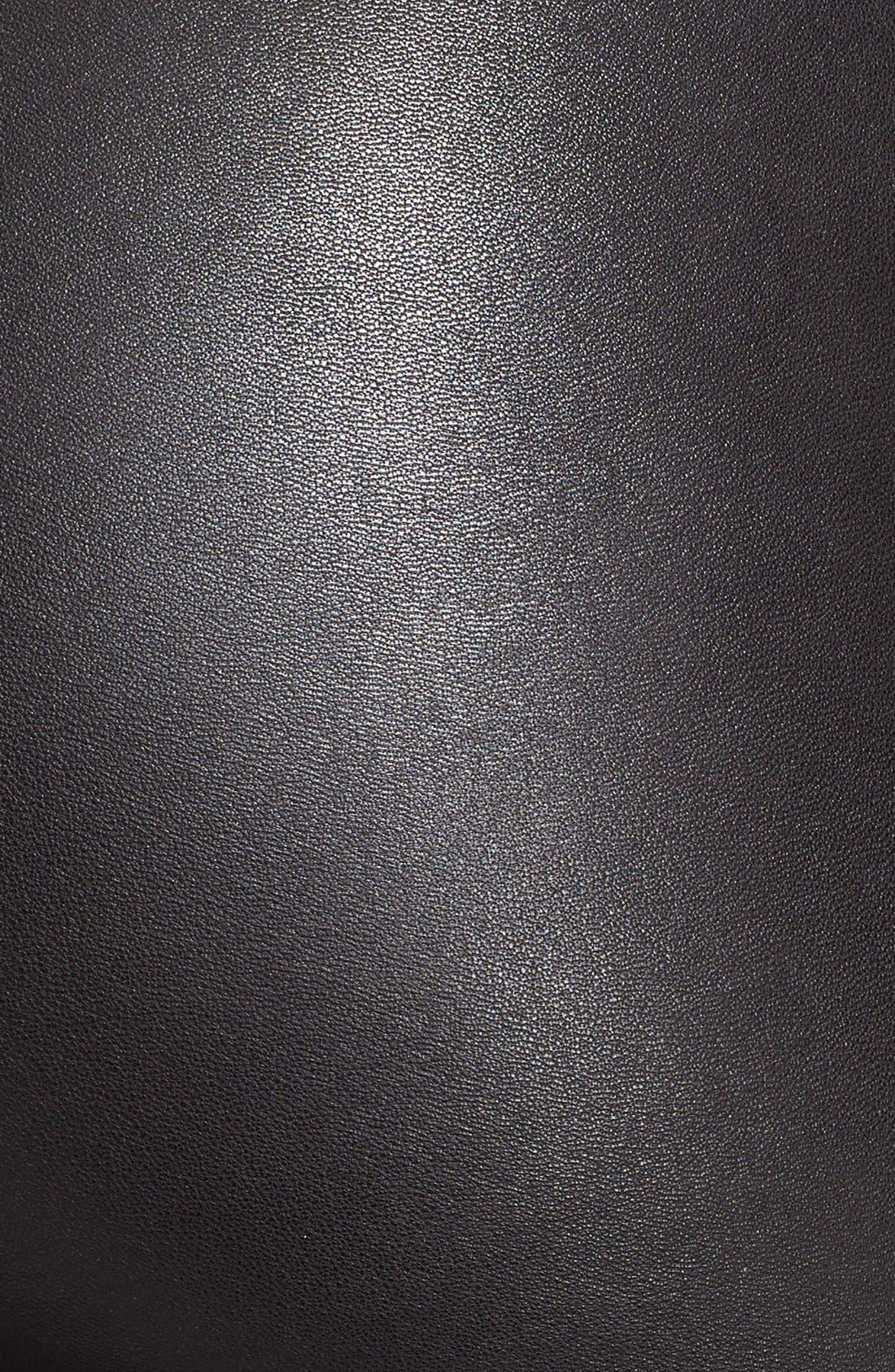 ALICE + OLIVIA, Leather Leggings, Alternate thumbnail 11, color, BLACK