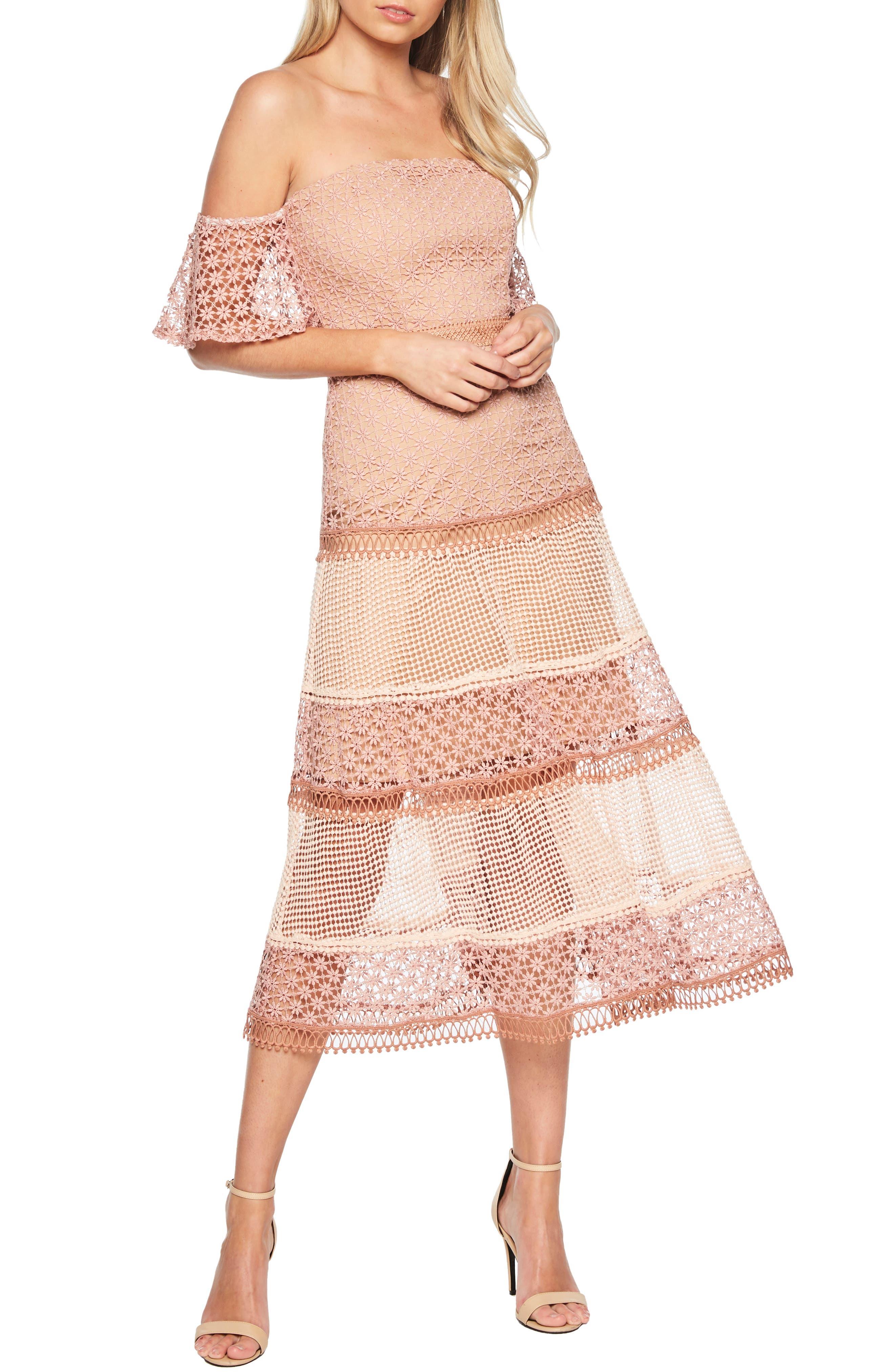 BARDOT Kristen Off the Shoulder Lace Midi Dress, Main, color, 680