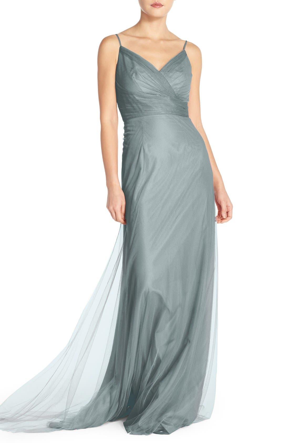 MONIQUE LHUILLIER BRIDESMAIDS, Surplice Tulle Gown, Main thumbnail 1, color, 483
