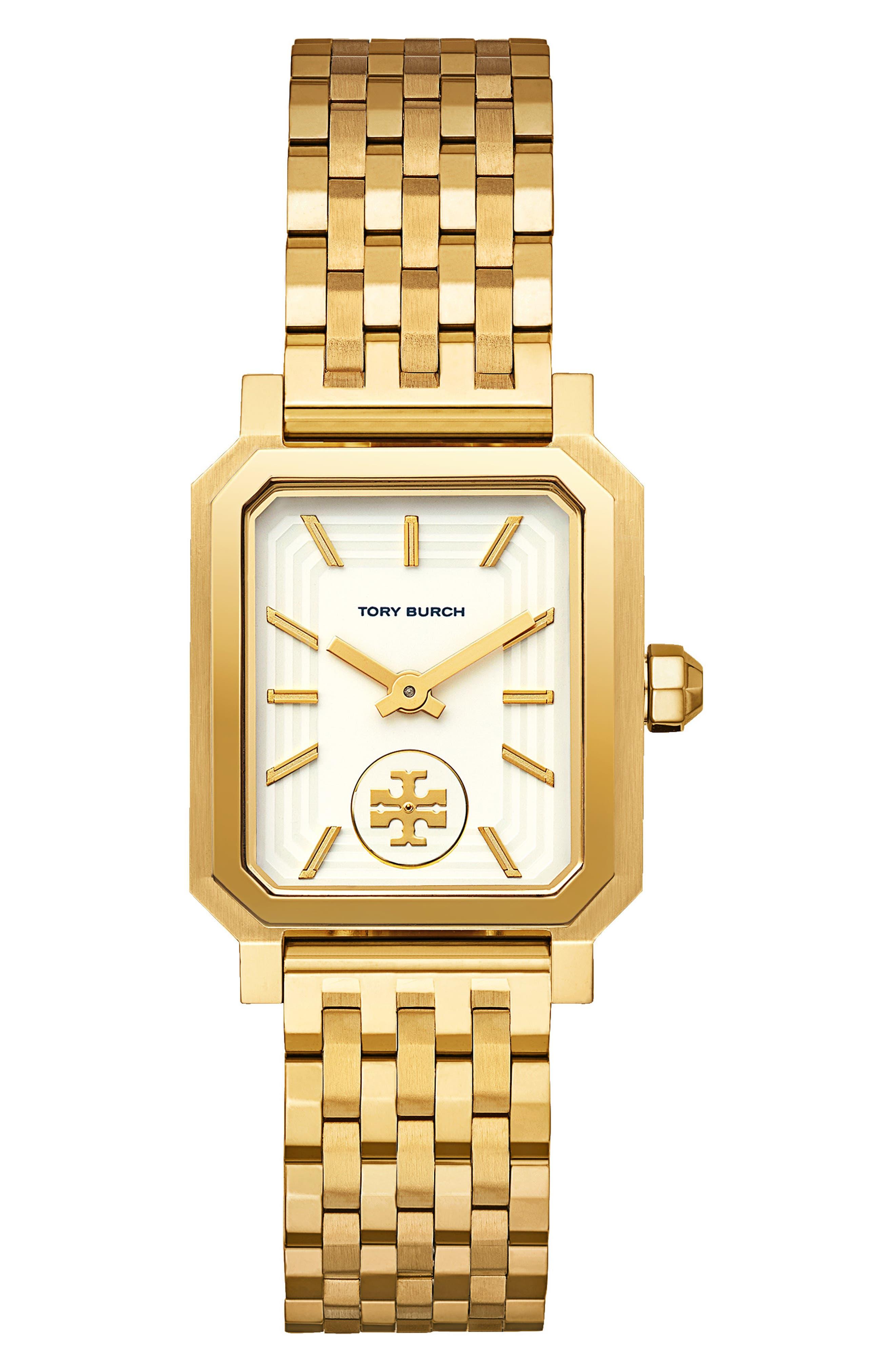 TORY BURCH, Robinson Mesh Bracelet Watch, 27mm x 29mm, Main thumbnail 1, color, GOLD/ WHITE / GOLD