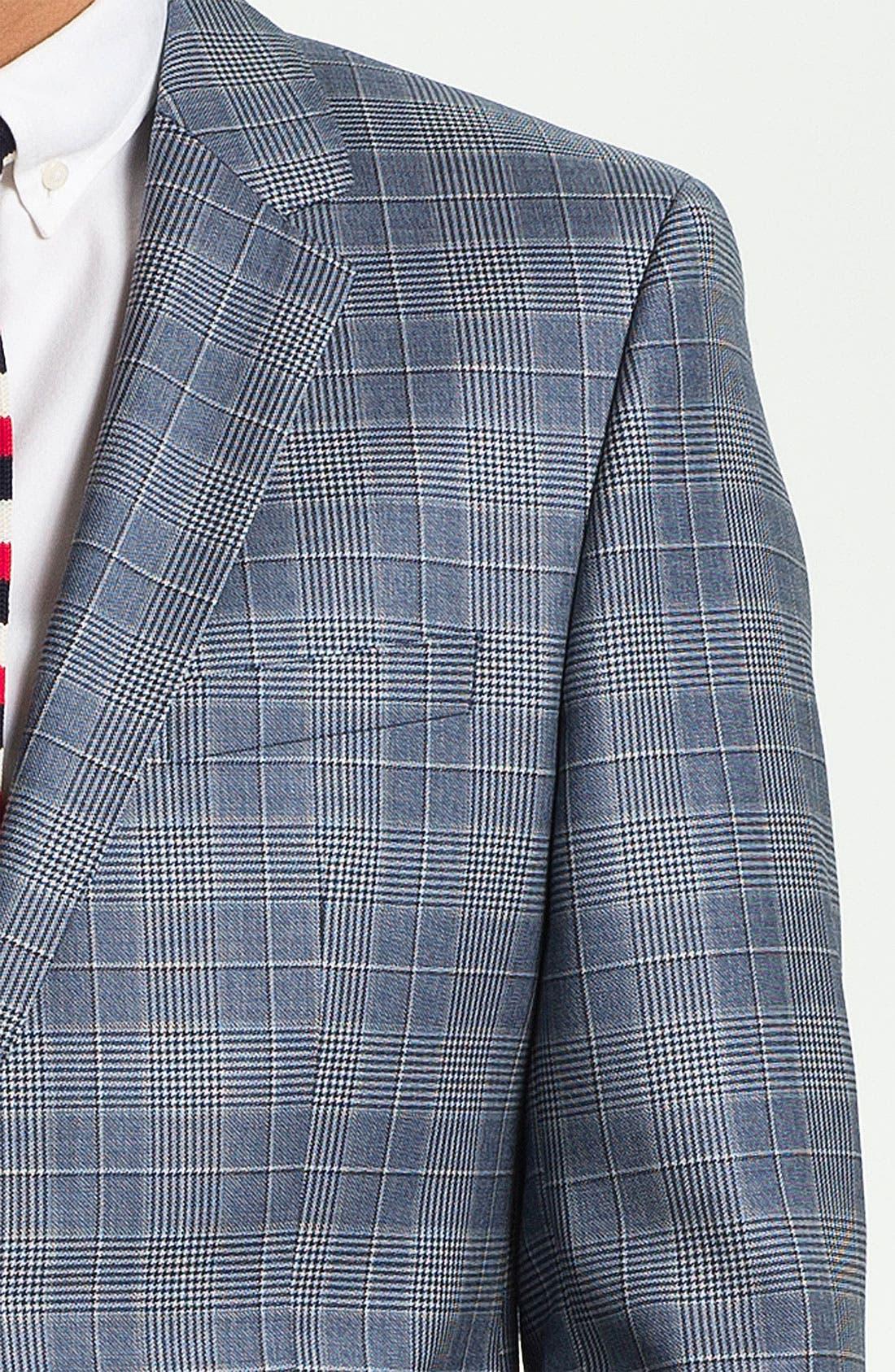 ZZDNUHUGO BOSS, BOSS Black 'James' Trim Fit Plaid Sportcoat, Alternate thumbnail 4, color, 460