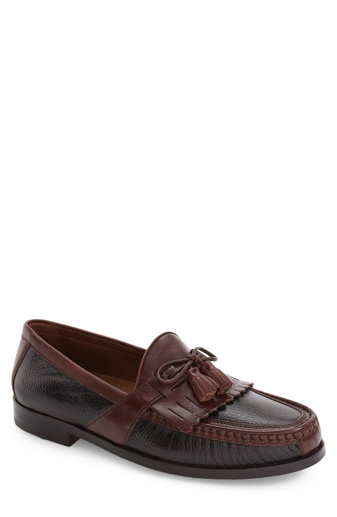 JOHNSTON & MURPHY, 'Aragon II' Loafer, Main thumbnail 1, color, BLACK/ BROWN LEATHER