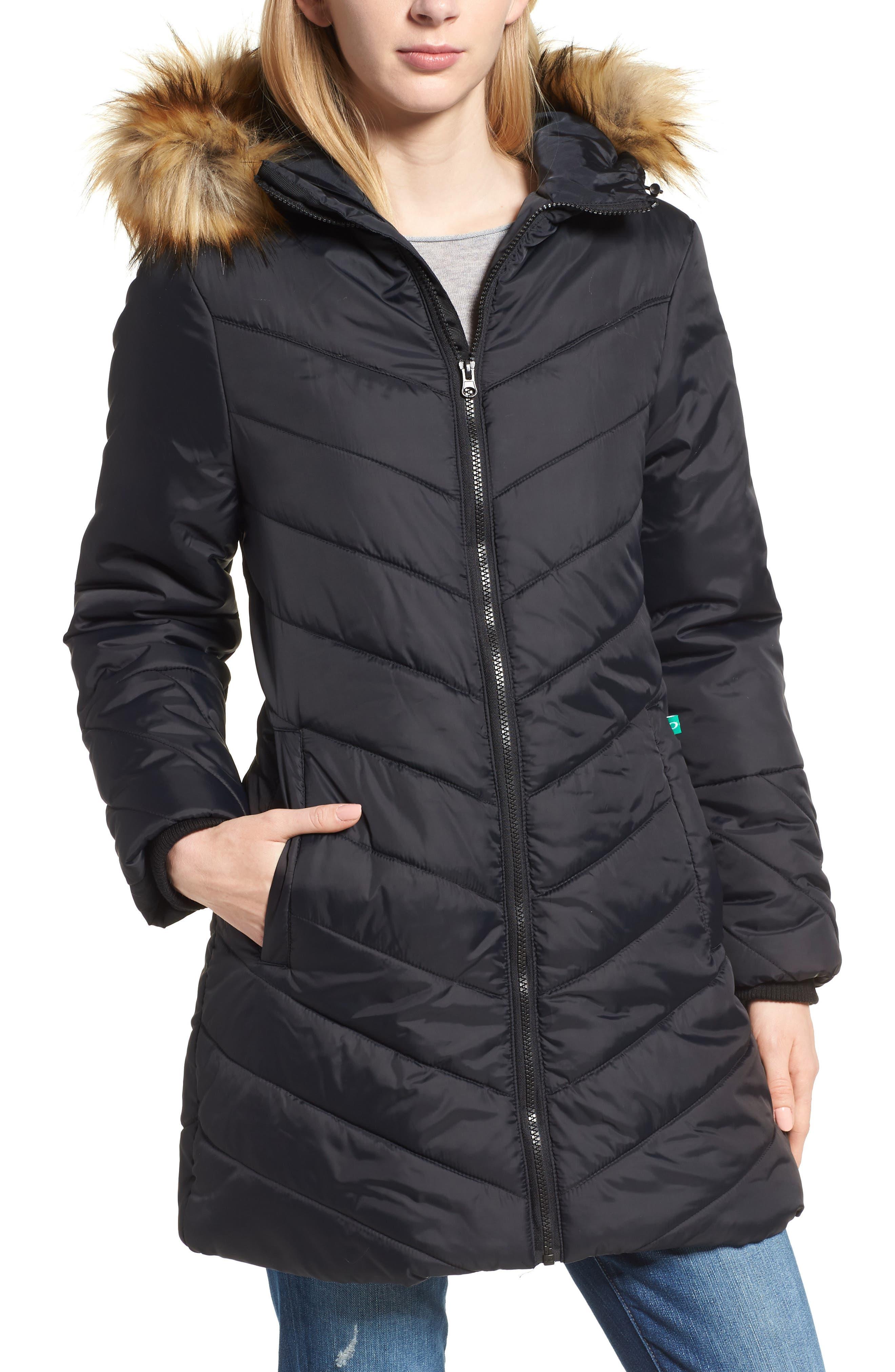MODERN ETERNITY, Faux Fur Trim Convertible Puffer 3-in-1 Maternity Jacket, Alternate thumbnail 2, color, BLACK