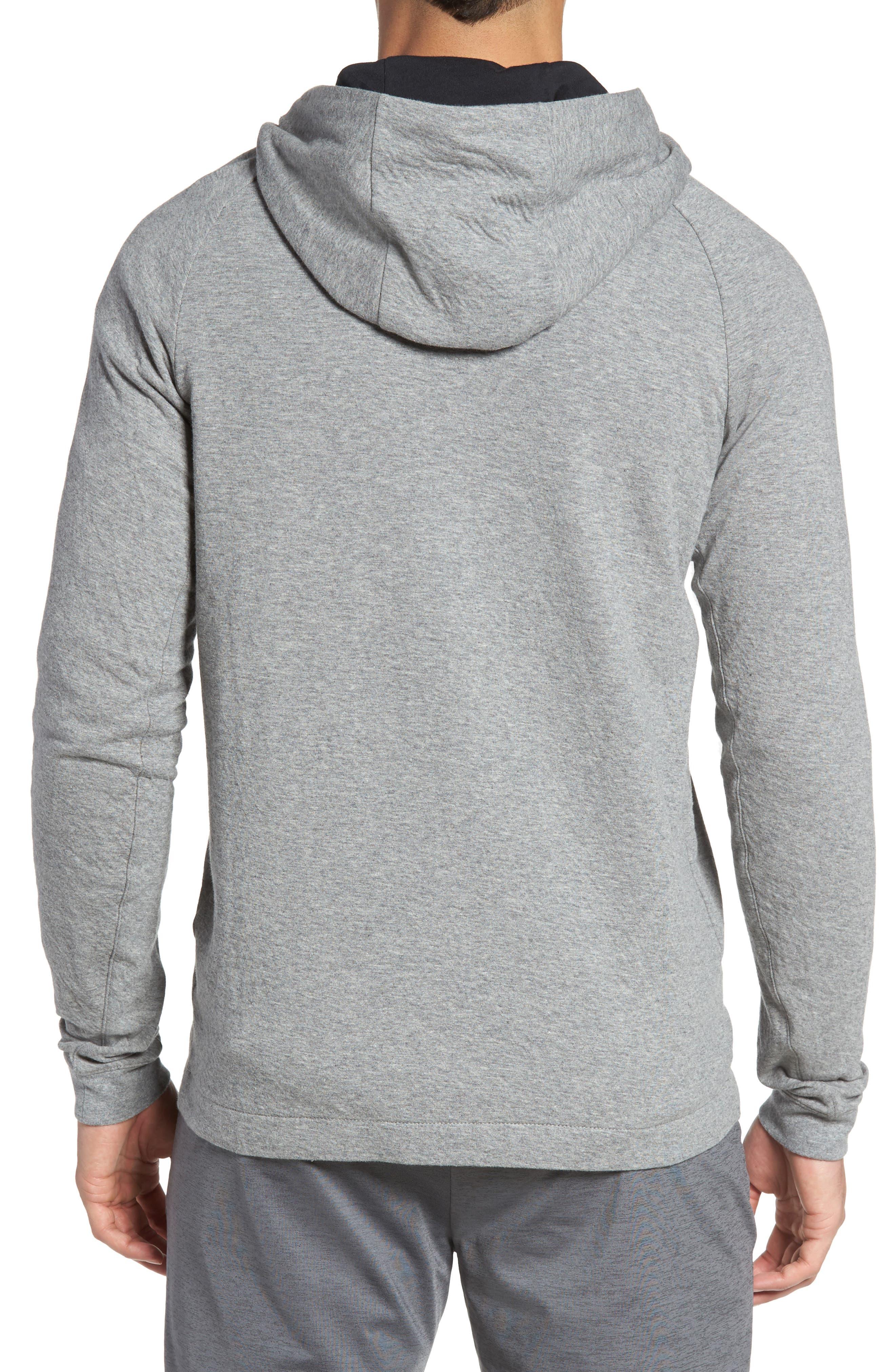 NIKE, Tech Regular Fit Fleece Hoodie, Alternate thumbnail 2, color, CARBON HEATHER/BLACK