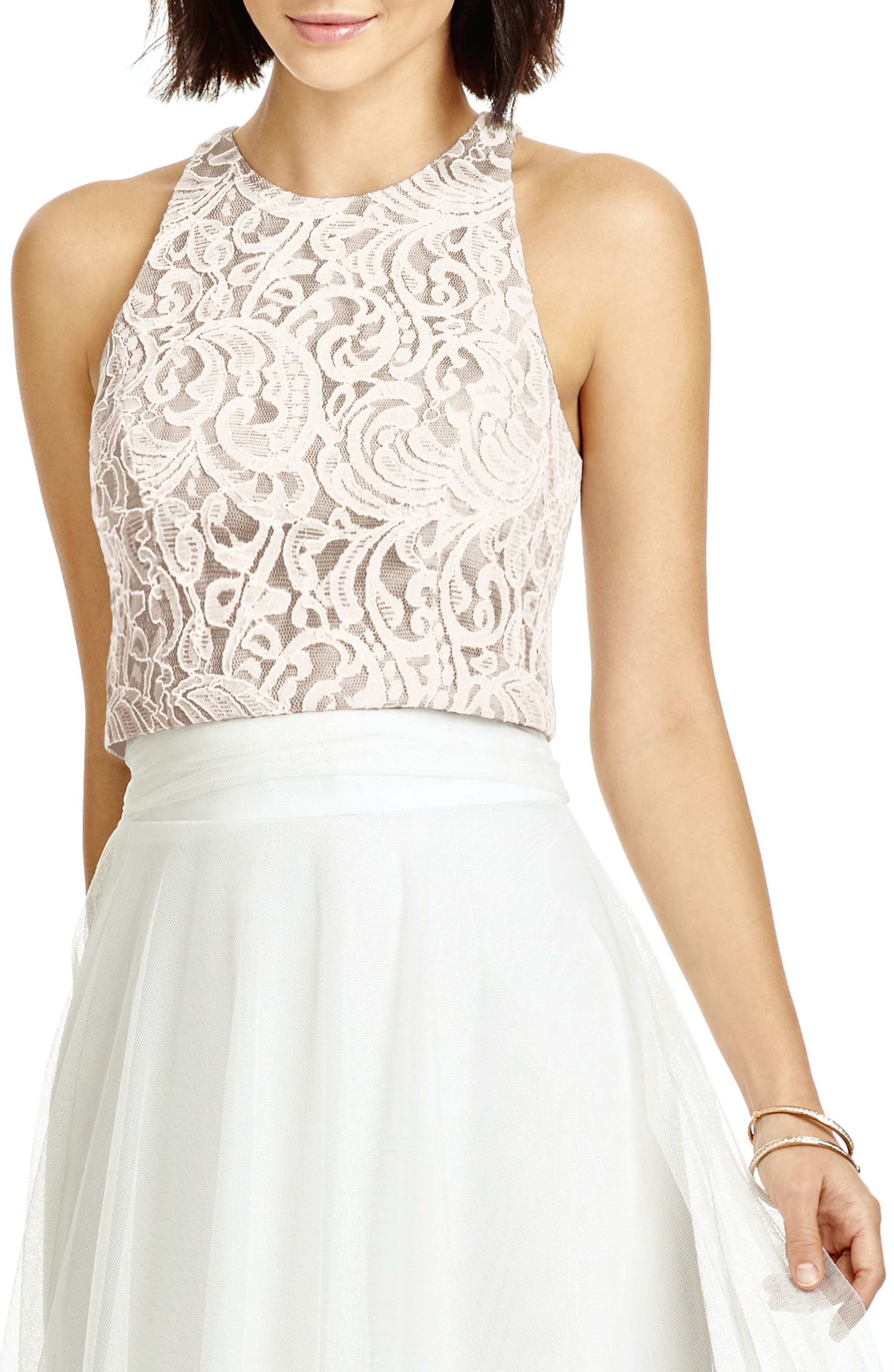 DESSY COLLECTION, Lace Halter Style Crop Top, Main thumbnail 1, color, IVORY LACE/ TOPAZ/ IVORY