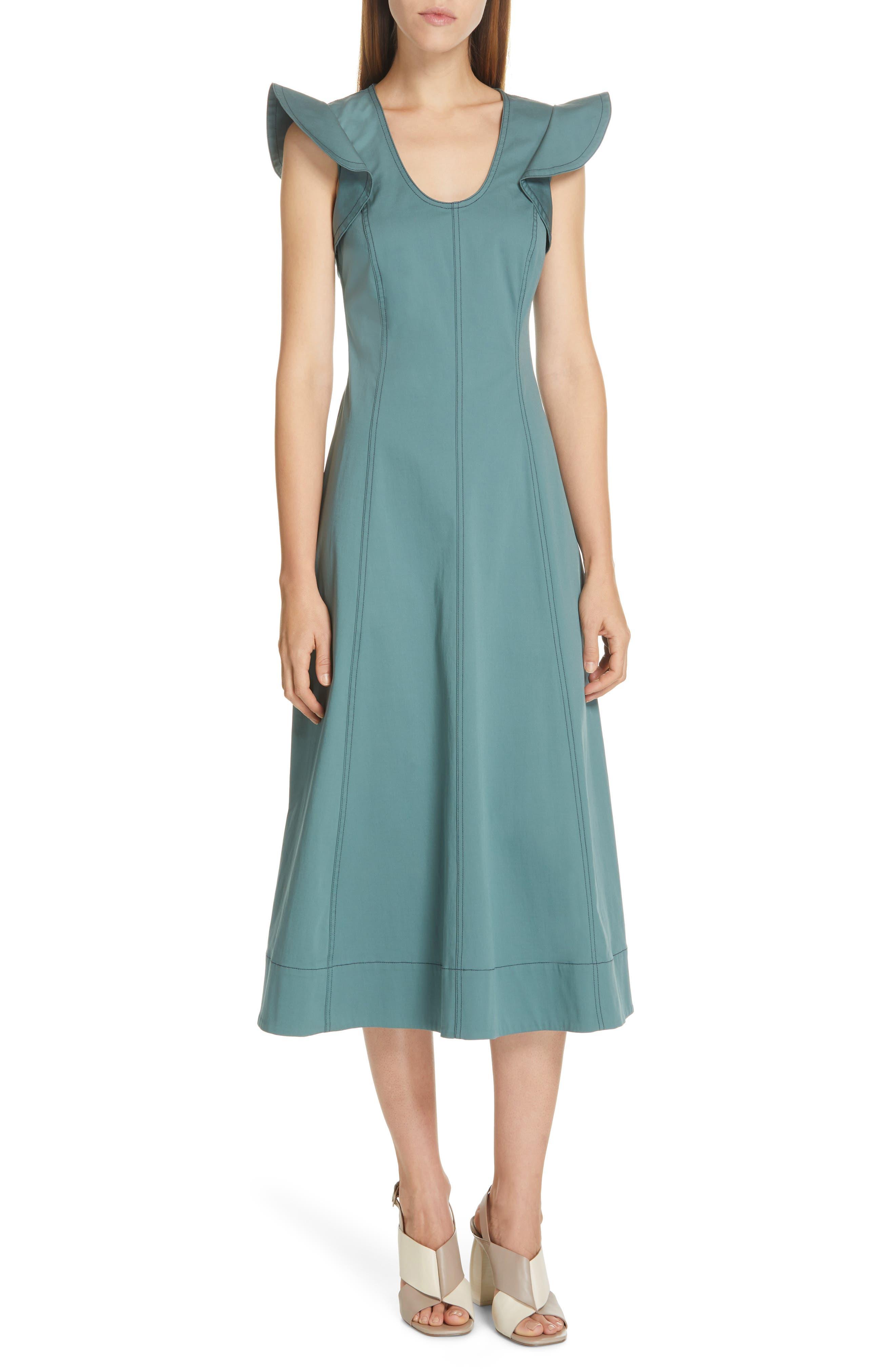 Sea Stella Flutter Sleeve Midi Dress, Green