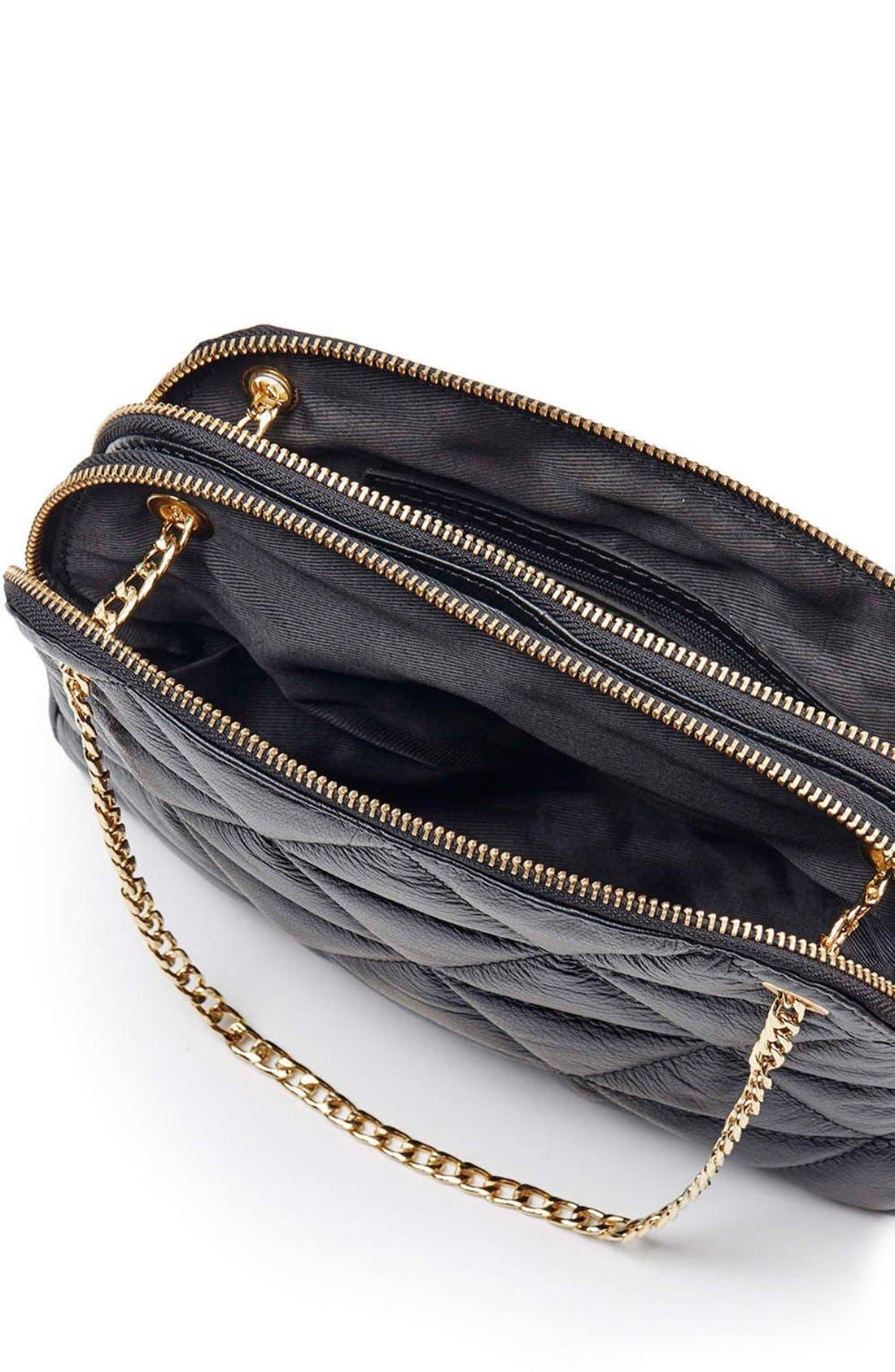 TOPSHOP, Quilted Leather Shoulder Bag, Alternate thumbnail 4, color, 001