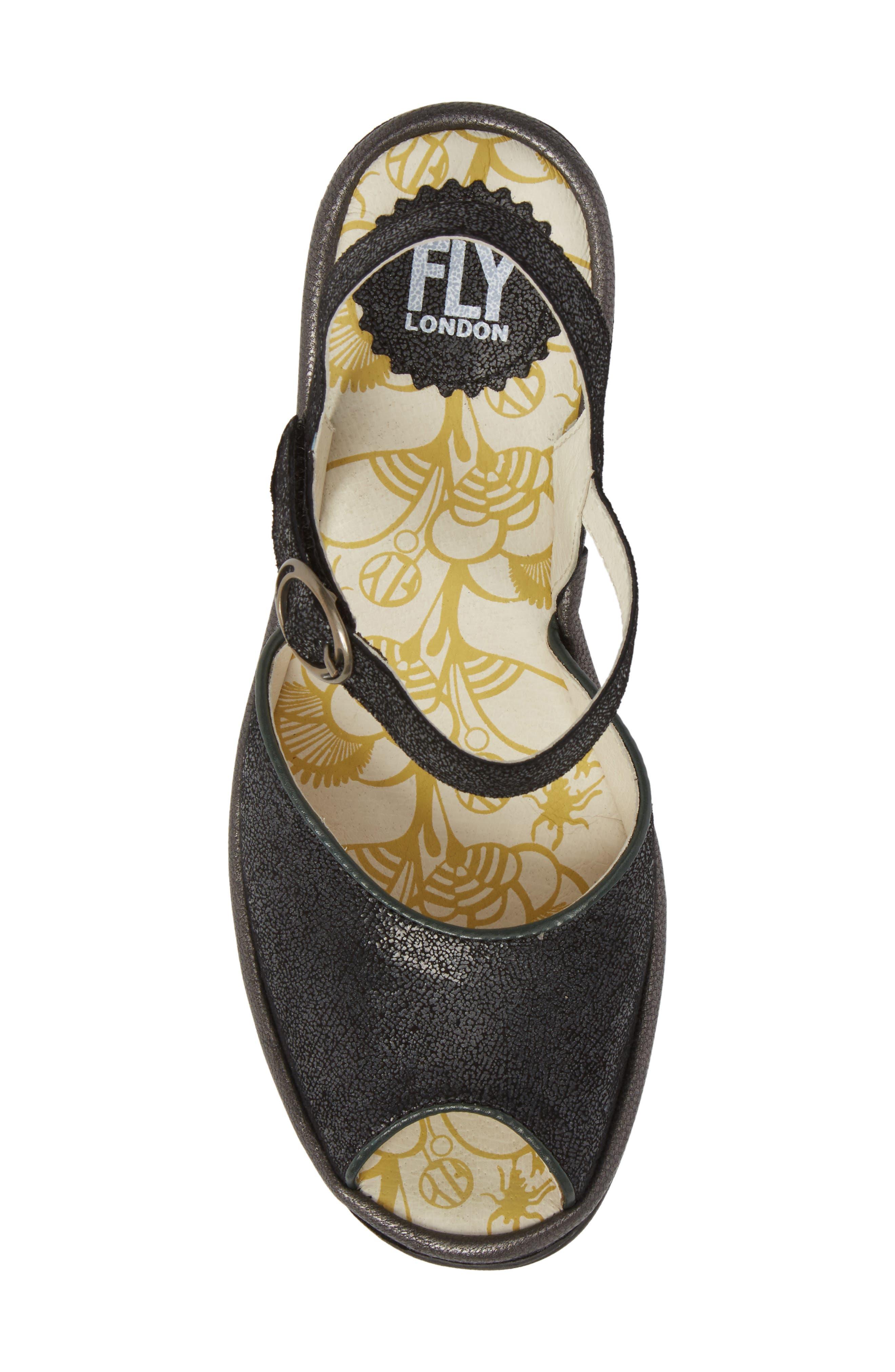 FLY LONDON, Yora Wedge Sandal, Alternate thumbnail 5, color, BLACK/ GRAPHITE LEATHER