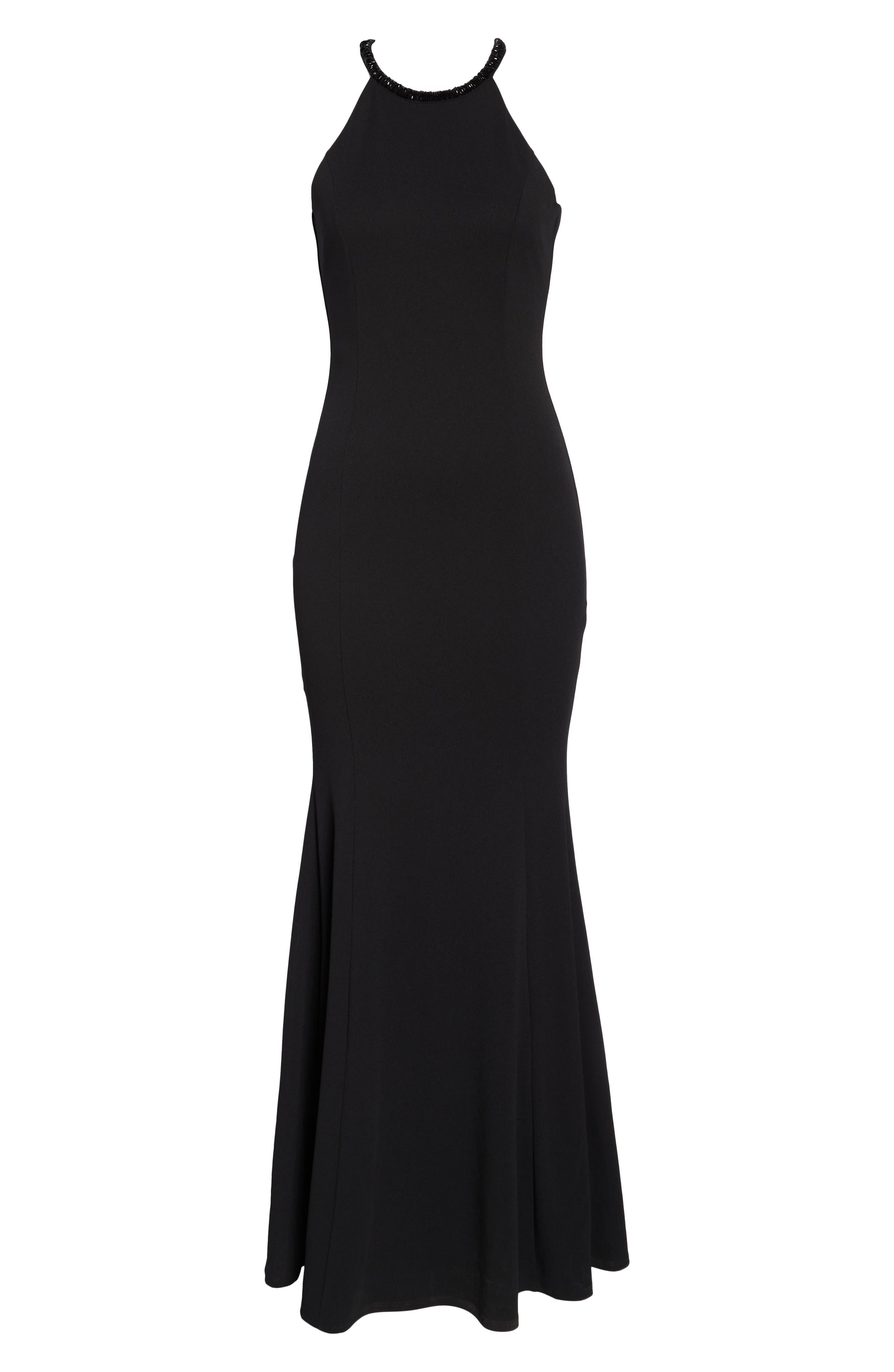 LULUS, Bead Neck Mermaid Gown, Alternate thumbnail 7, color, BLACK