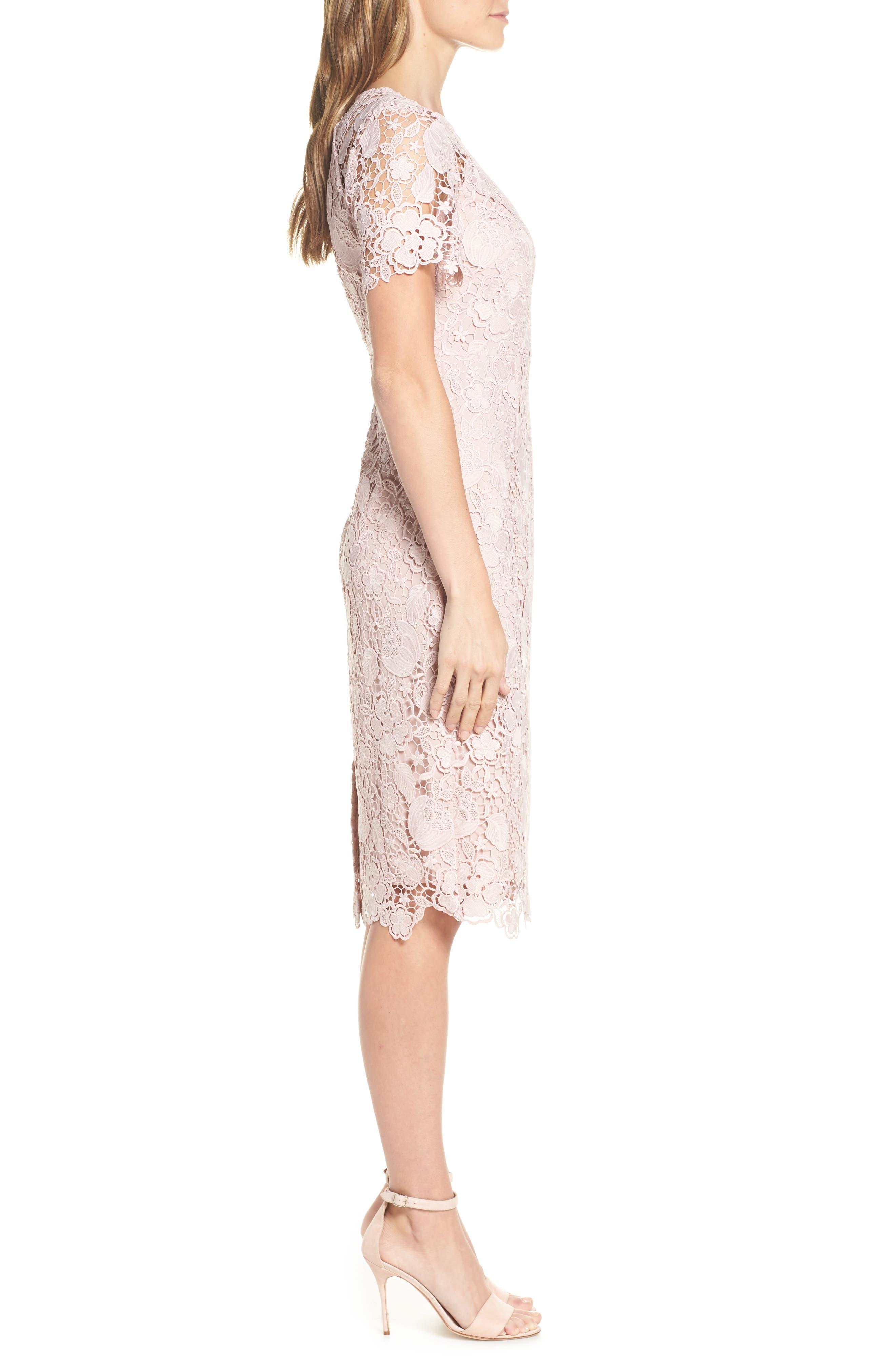 ELIZA J, Embroidered Lace Sheath Dress, Alternate thumbnail 4, color, NUDE