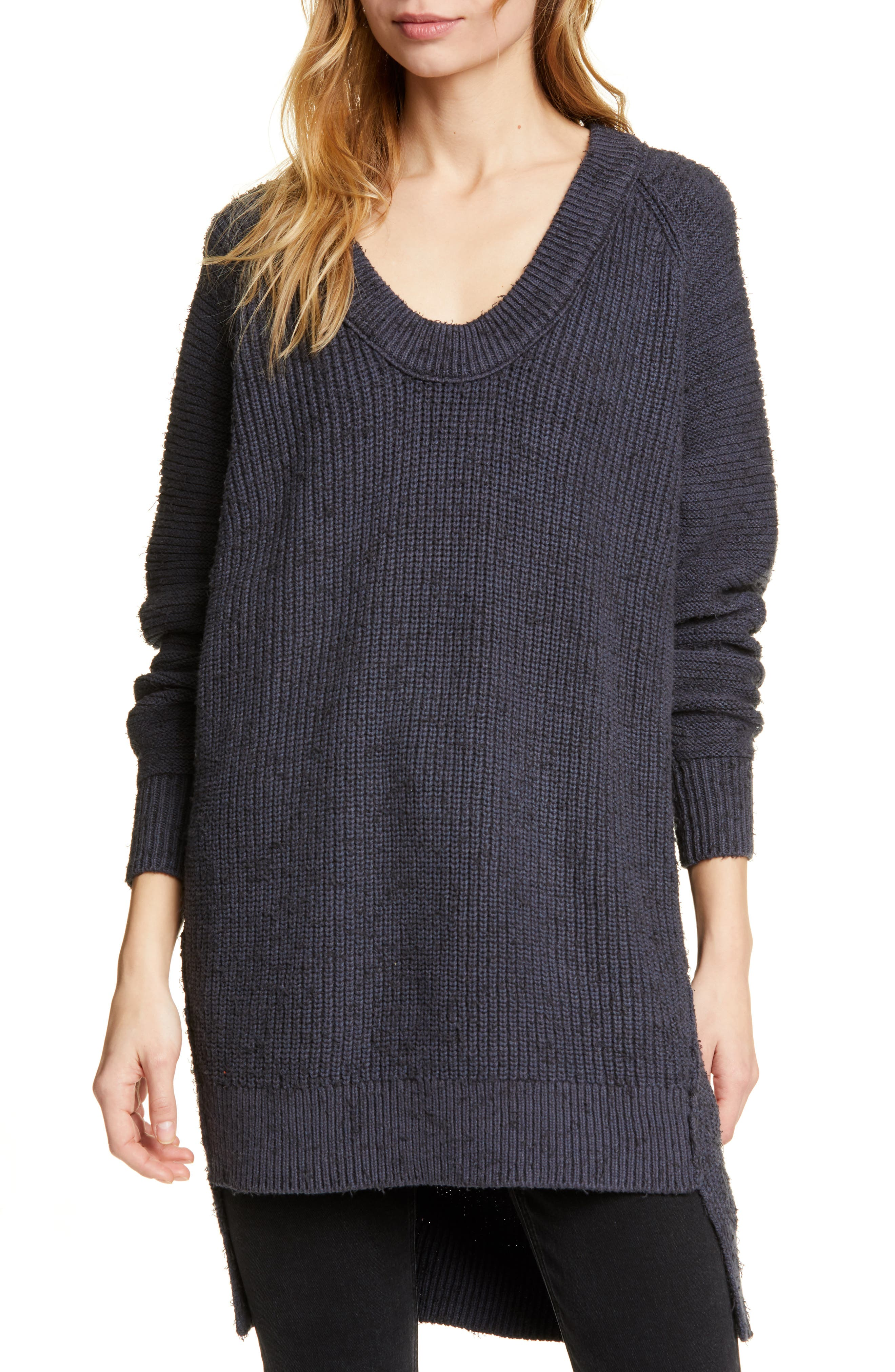 FREE PEOPLE Sunday V-Neck Sweater, Main, color, GREY