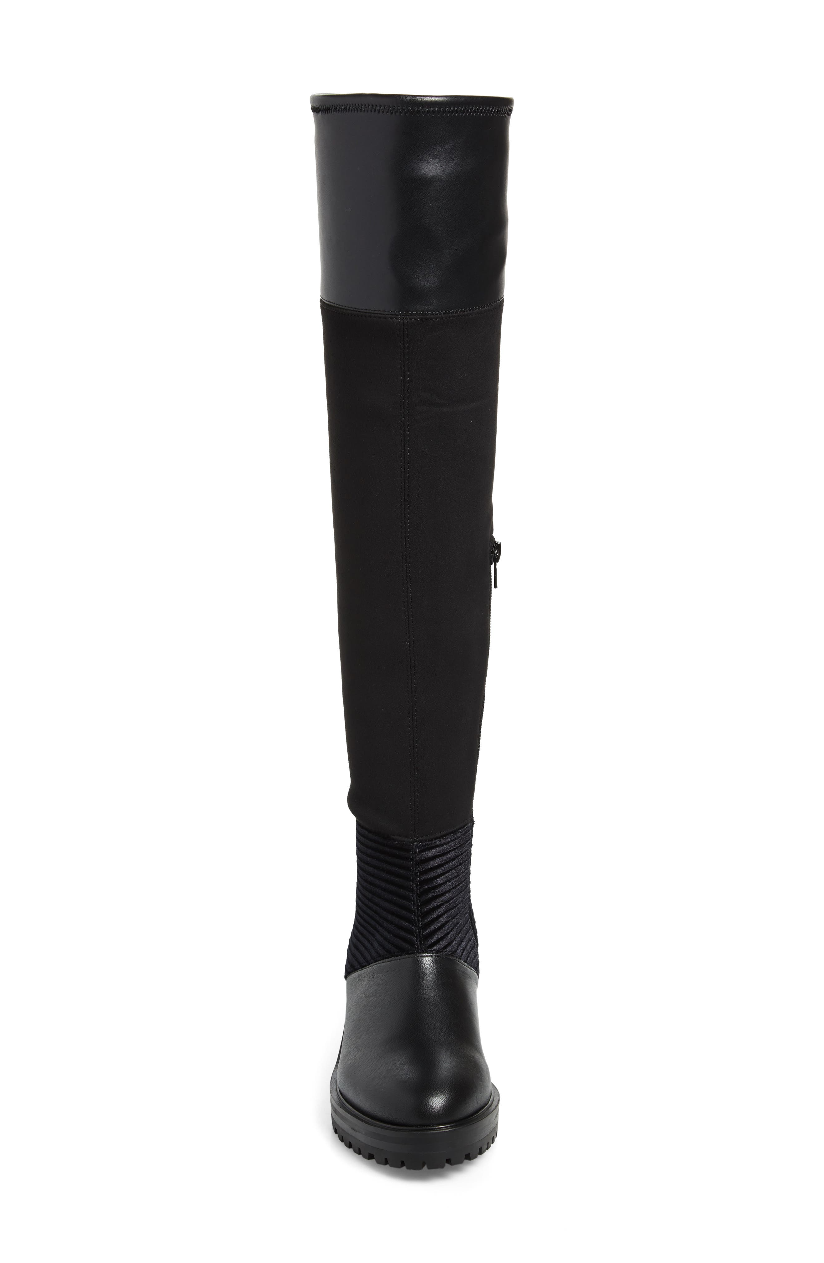 M4D3, Nakina Over the Knee Boot, Alternate thumbnail 4, color, BLACK LEATHER