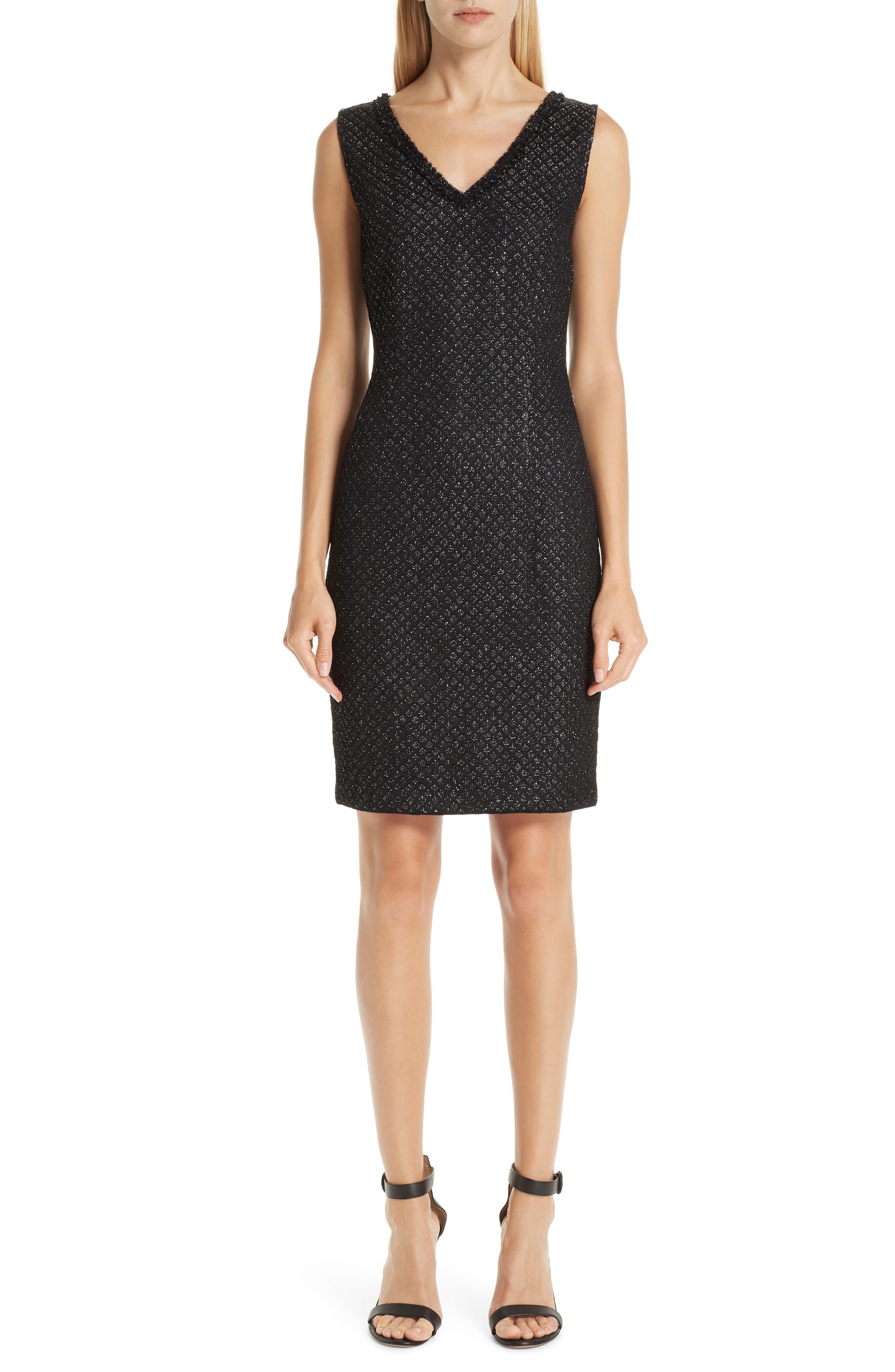 ST. JOHN COLLECTION, Shimmer Inlay Brocade Knit Dress, Main thumbnail 1, color, CAVIAR/ SILVER