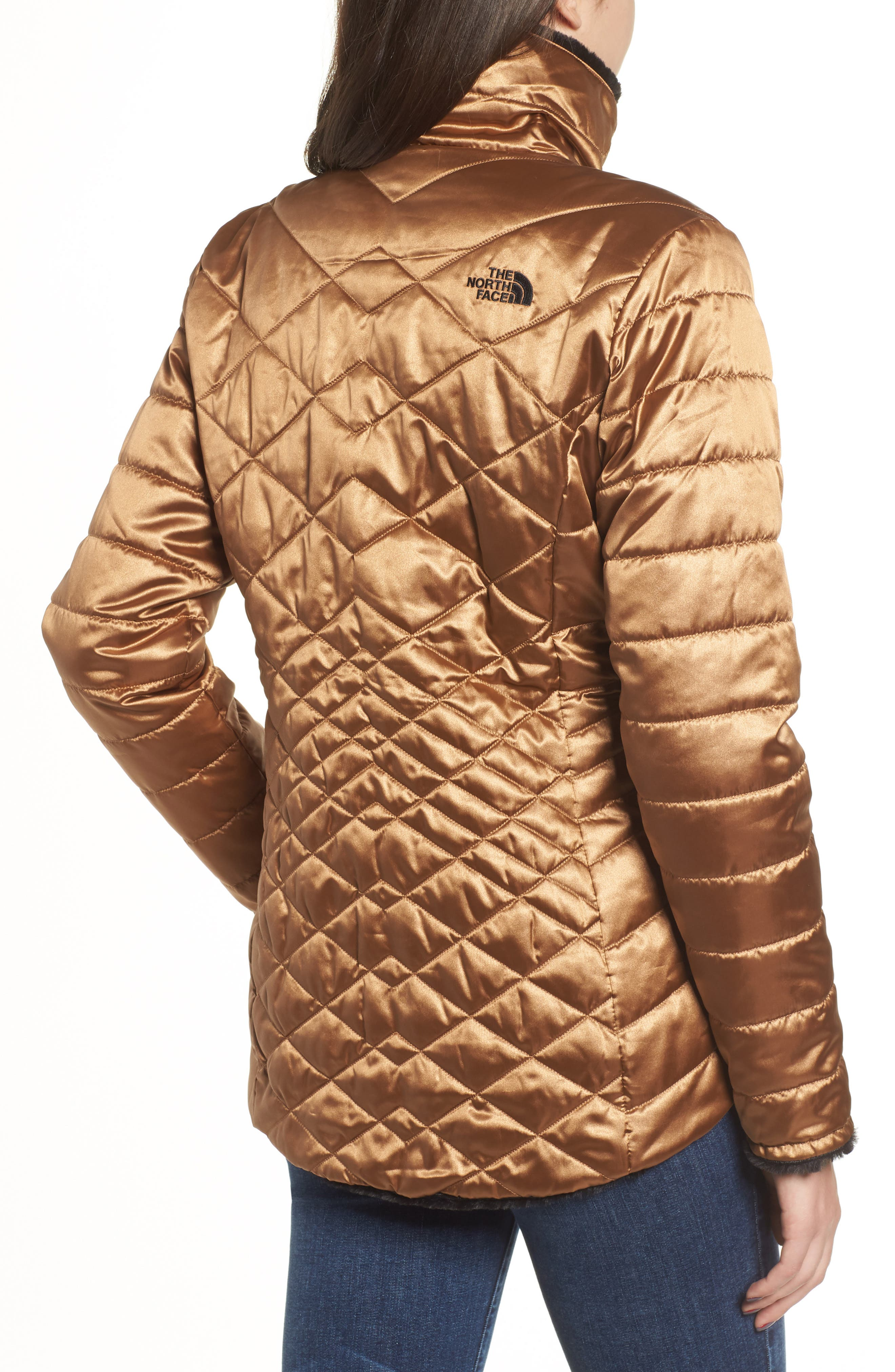 THE NORTH FACE, Mossbud Reversible Heatseeker<sup>™</sup> Wind Resistant Jacket, Alternate thumbnail 4, color, METALLIC COPPER/ TNF BLACK