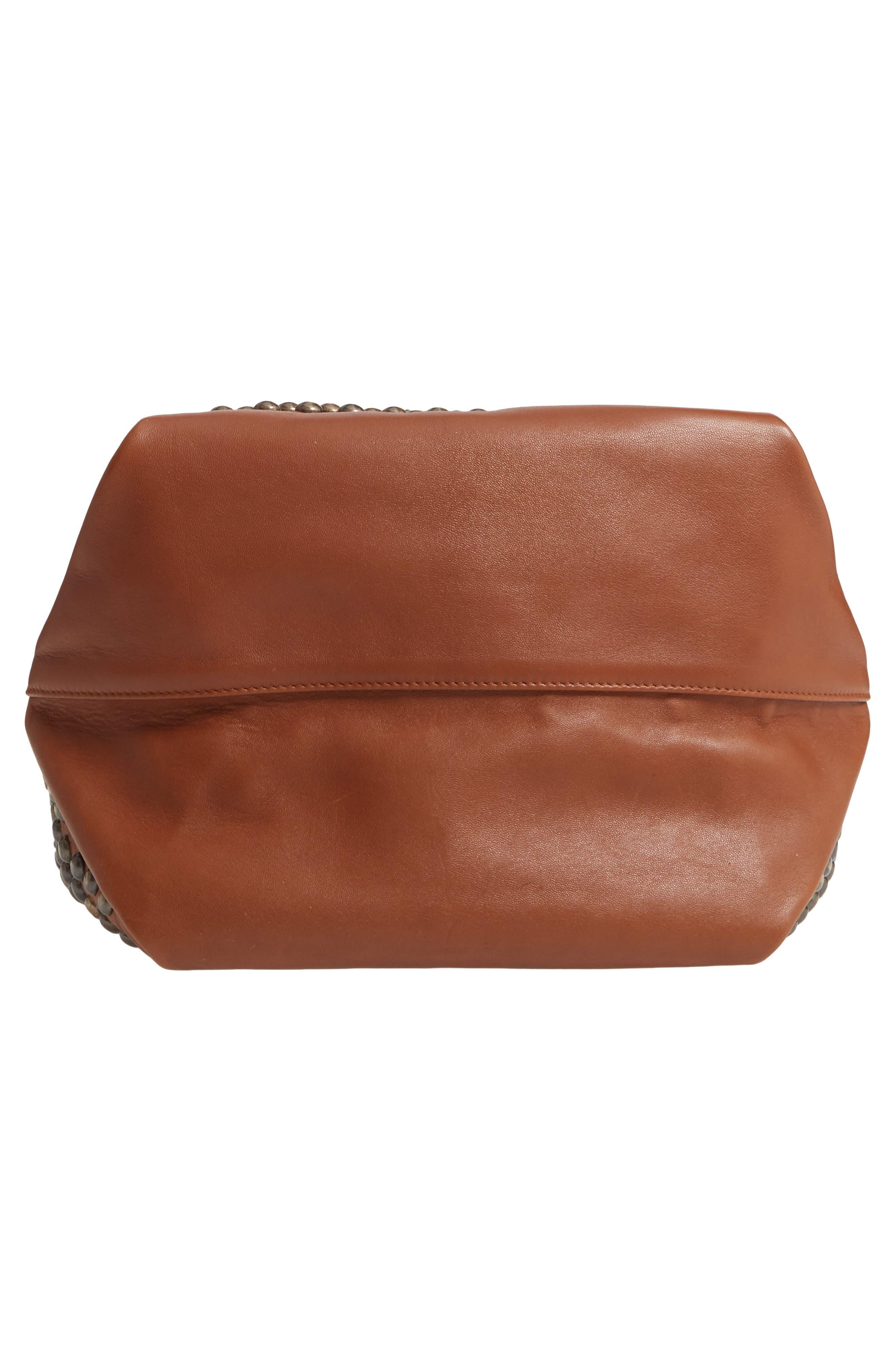 SAINT LAURENT, Teddy Studded Leather Bucket Bag, Alternate thumbnail 6, color, 200