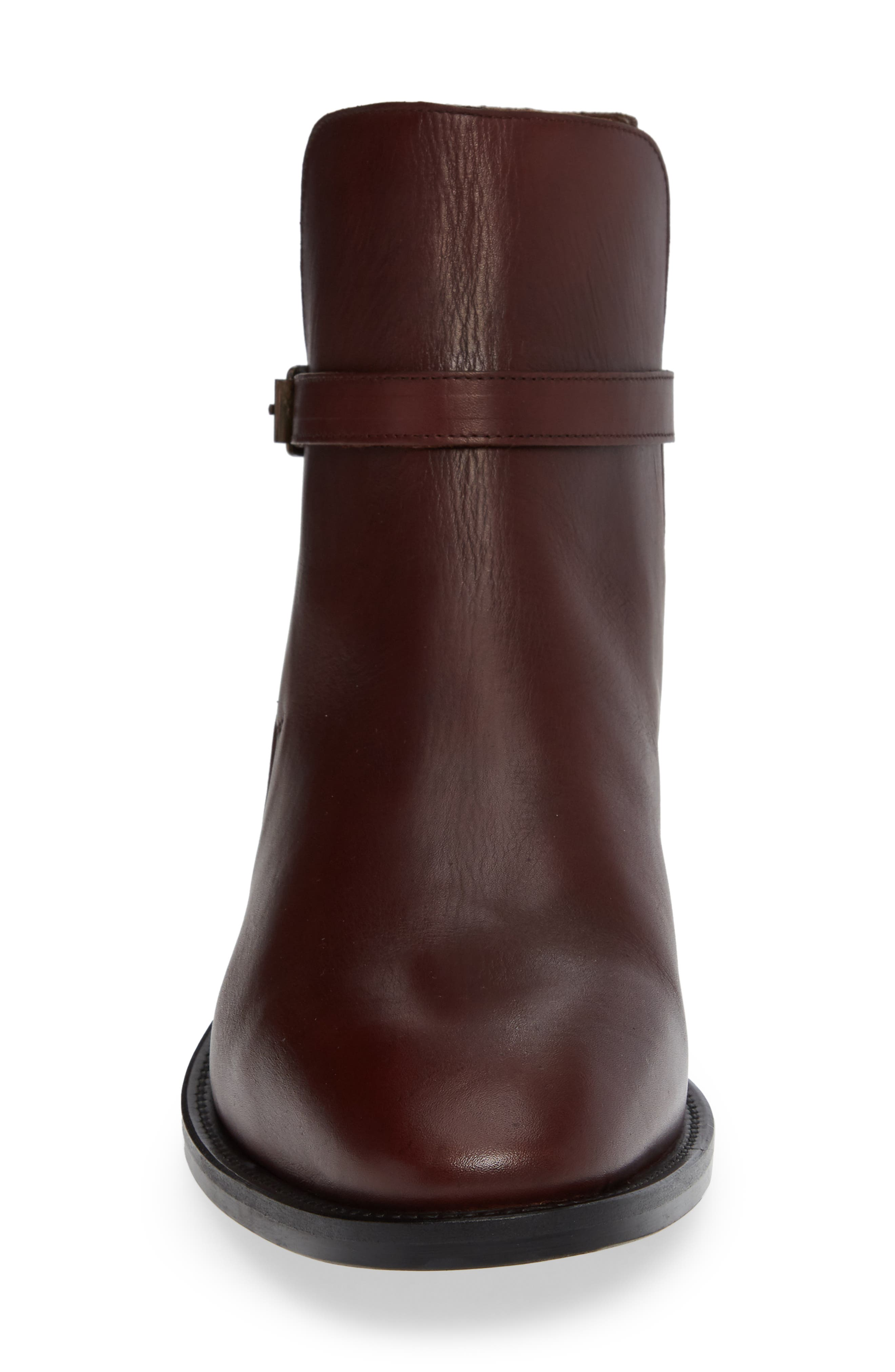 VINCE CAMUTO, Hop Buckle Strap Boot, Alternate thumbnail 4, color, BROWN LEATHER