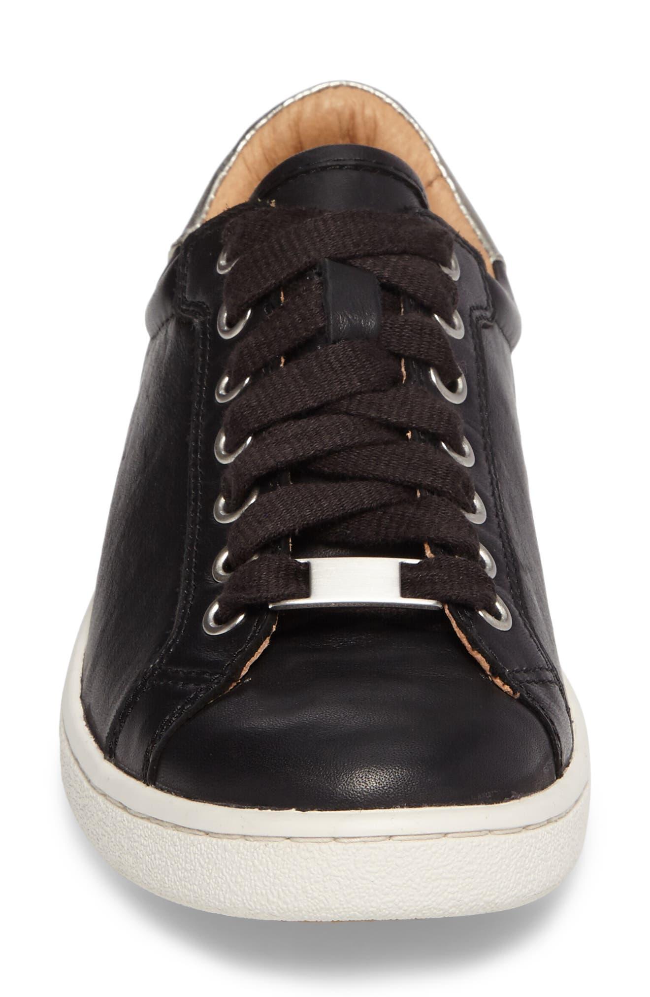 UGG<SUP>®</SUP>, Milo Sneaker, Alternate thumbnail 4, color, BLACK LEATHER
