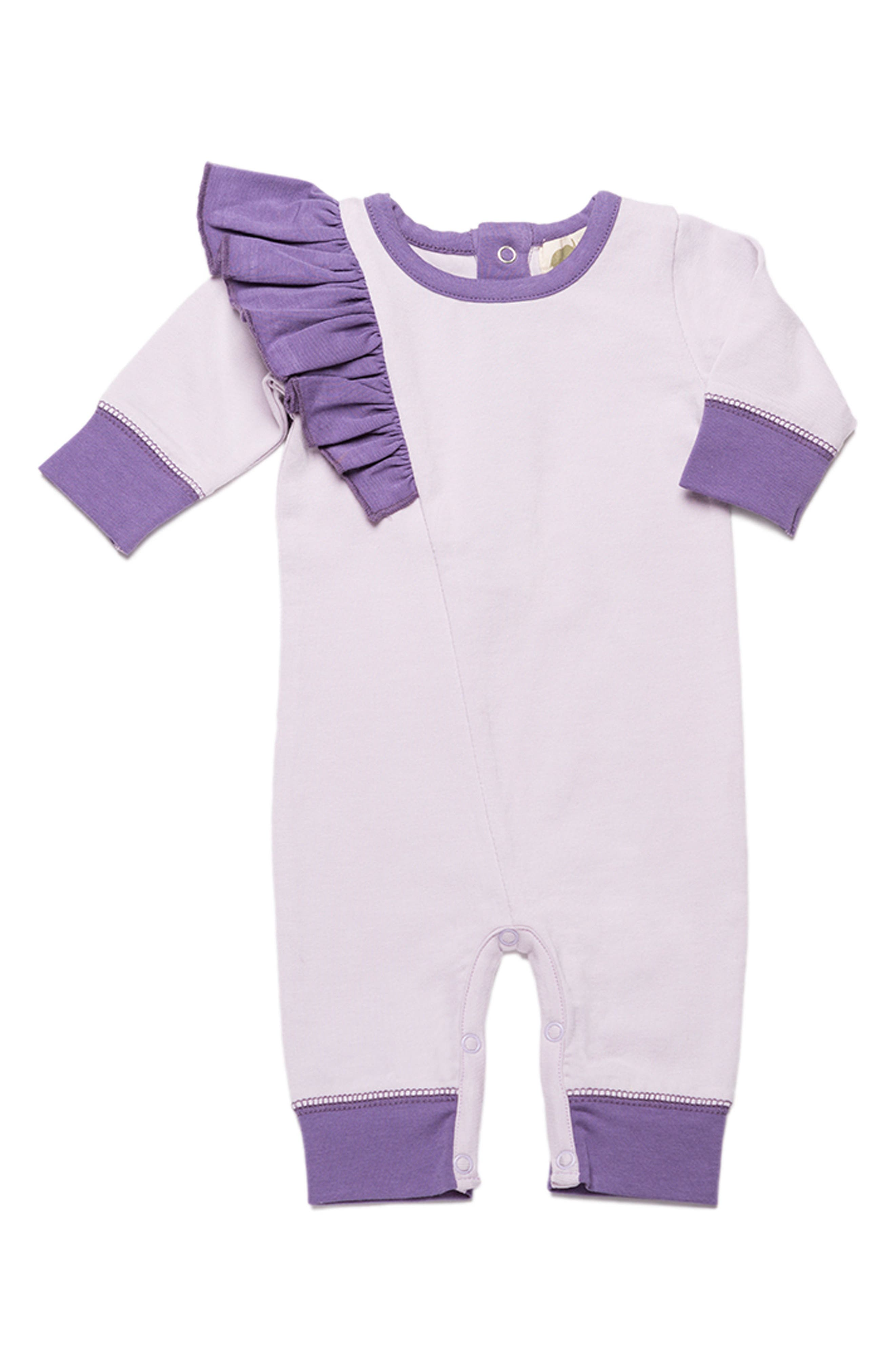MONICA + ANDY Ruffle Organic Cotton Romper, Main, color, 500