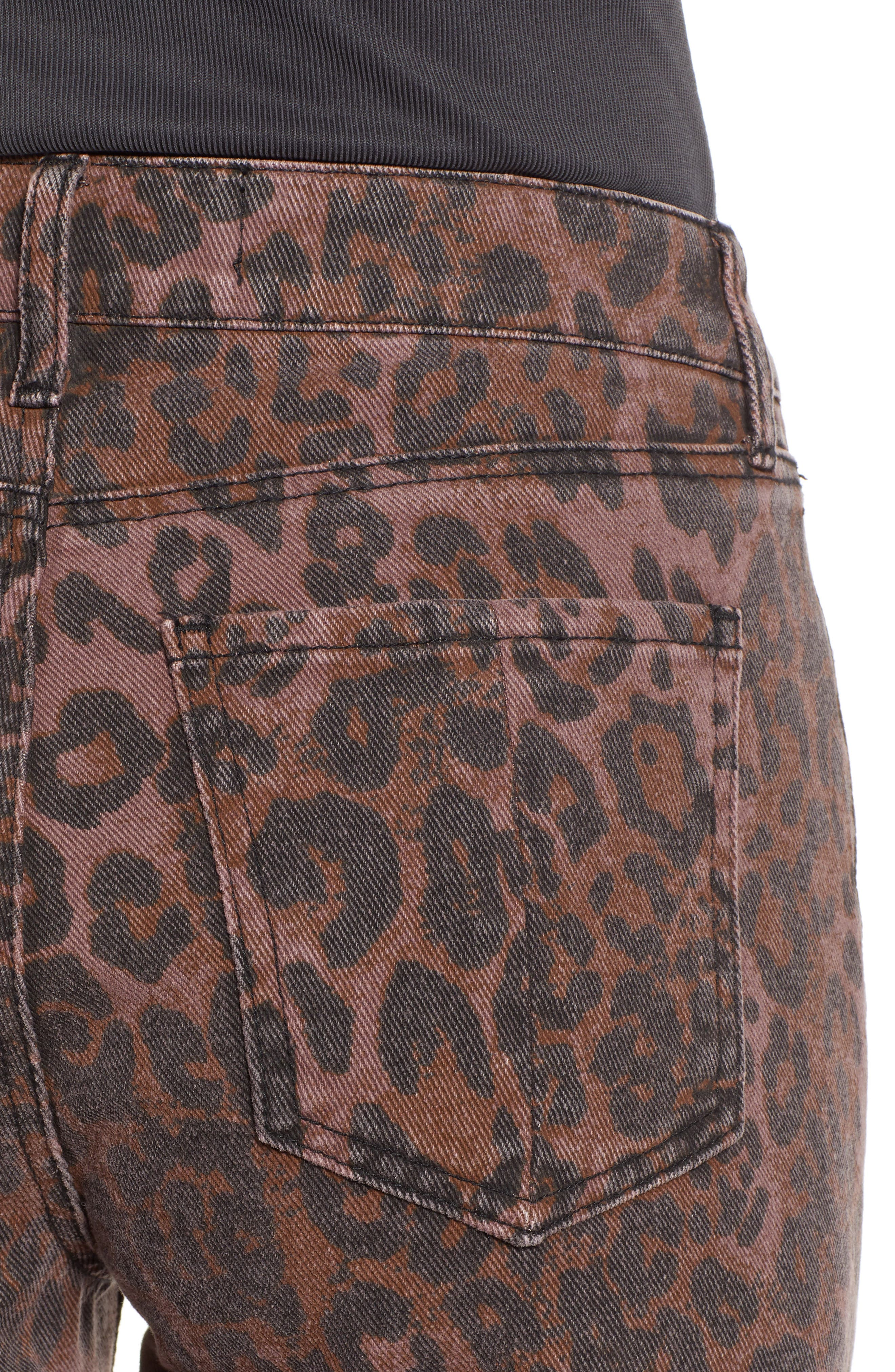 PROSPERITY DENIM, Leopard Print Skinny Jeans, Alternate thumbnail 5, color, LEOPARD