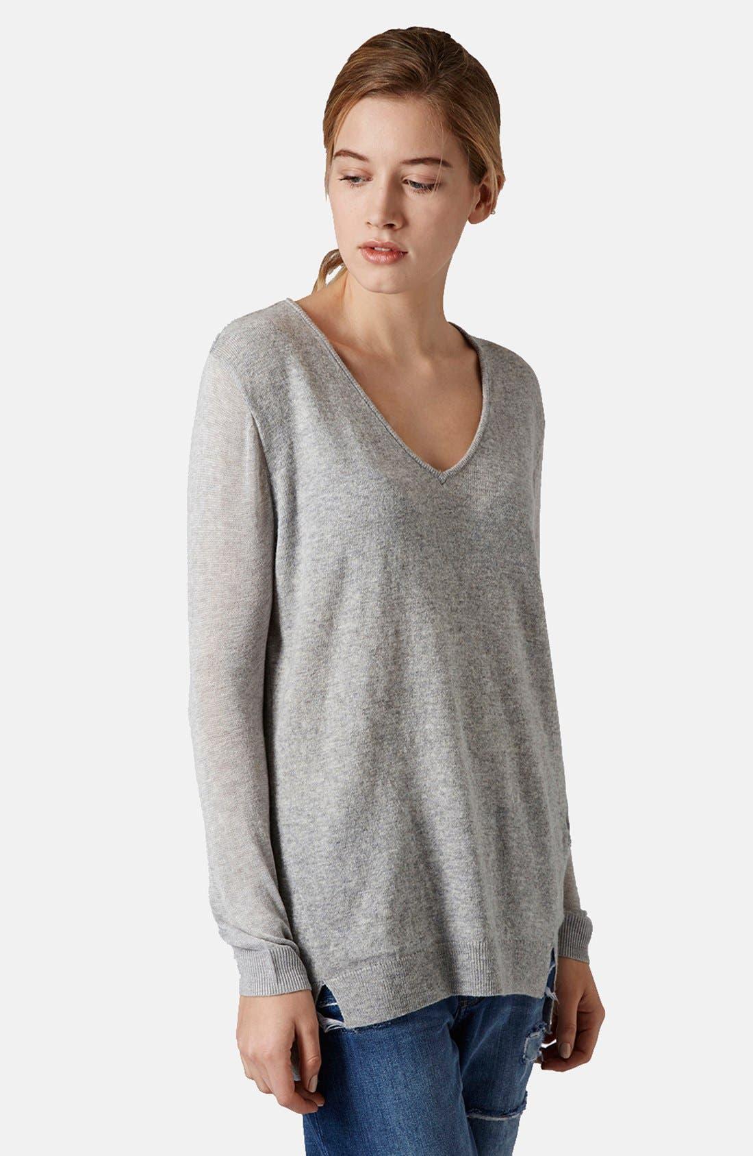 TOPSHOP, Sheer Sleeve Tunic Sweater, Main thumbnail 1, color, 050