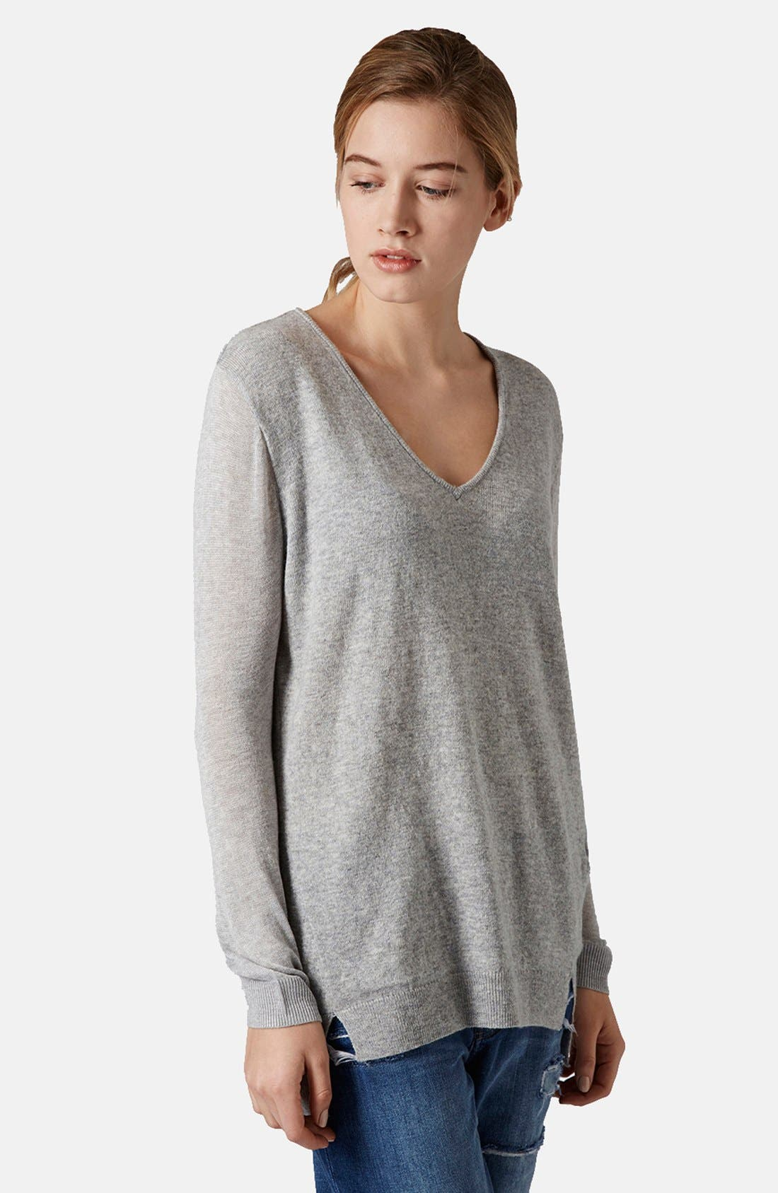 TOPSHOP Sheer Sleeve Tunic Sweater, Main, color, 050
