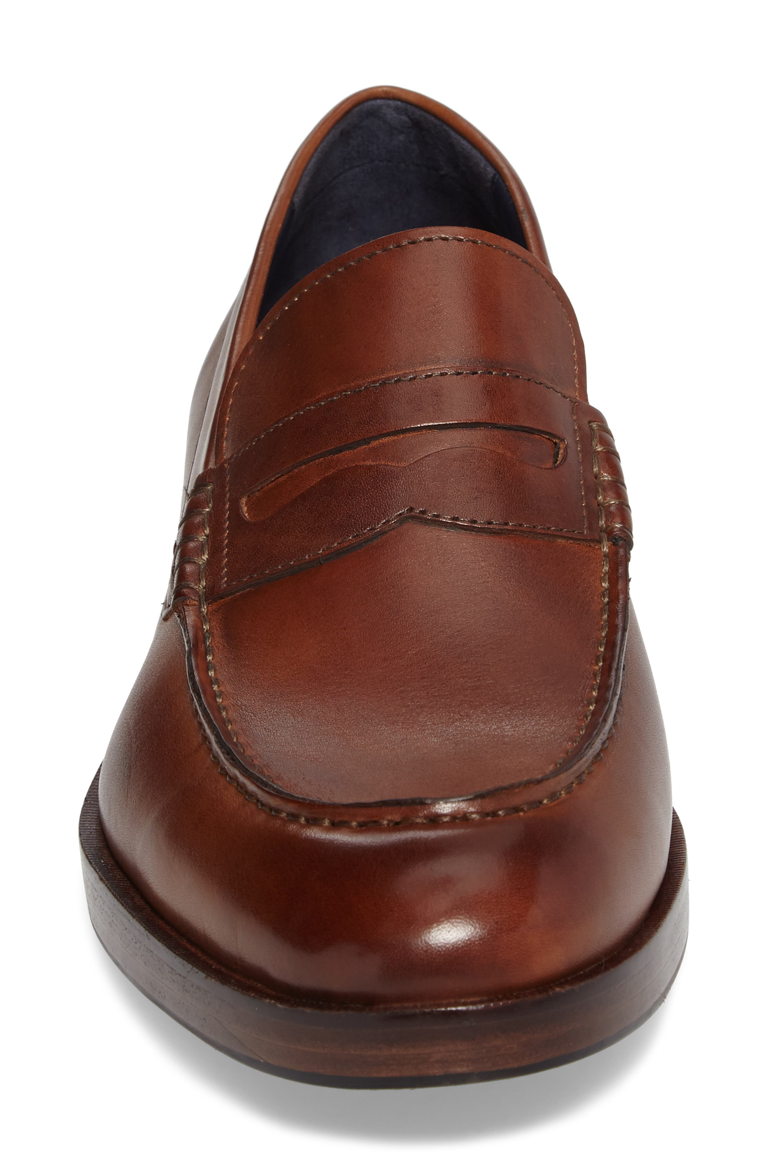 COLE HAAN, Harrison Grand Penny Loafer, Alternate thumbnail 4, color, COGNAC/ DARK NATURAL LEATHER