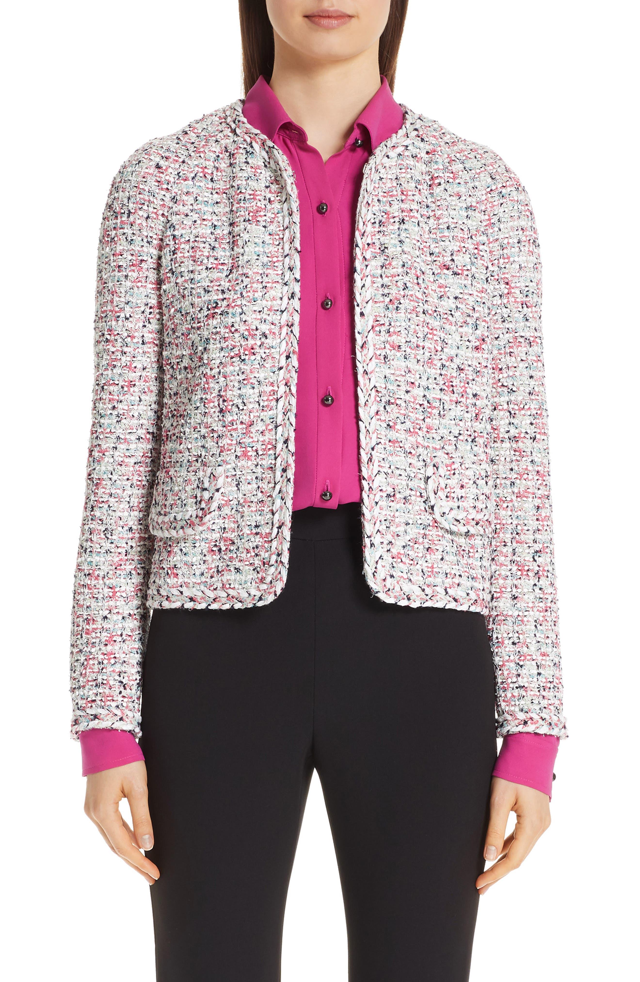 ST. JOHN COLLECTION Modern Knit Jacket, Main, color, CREAM MULTI