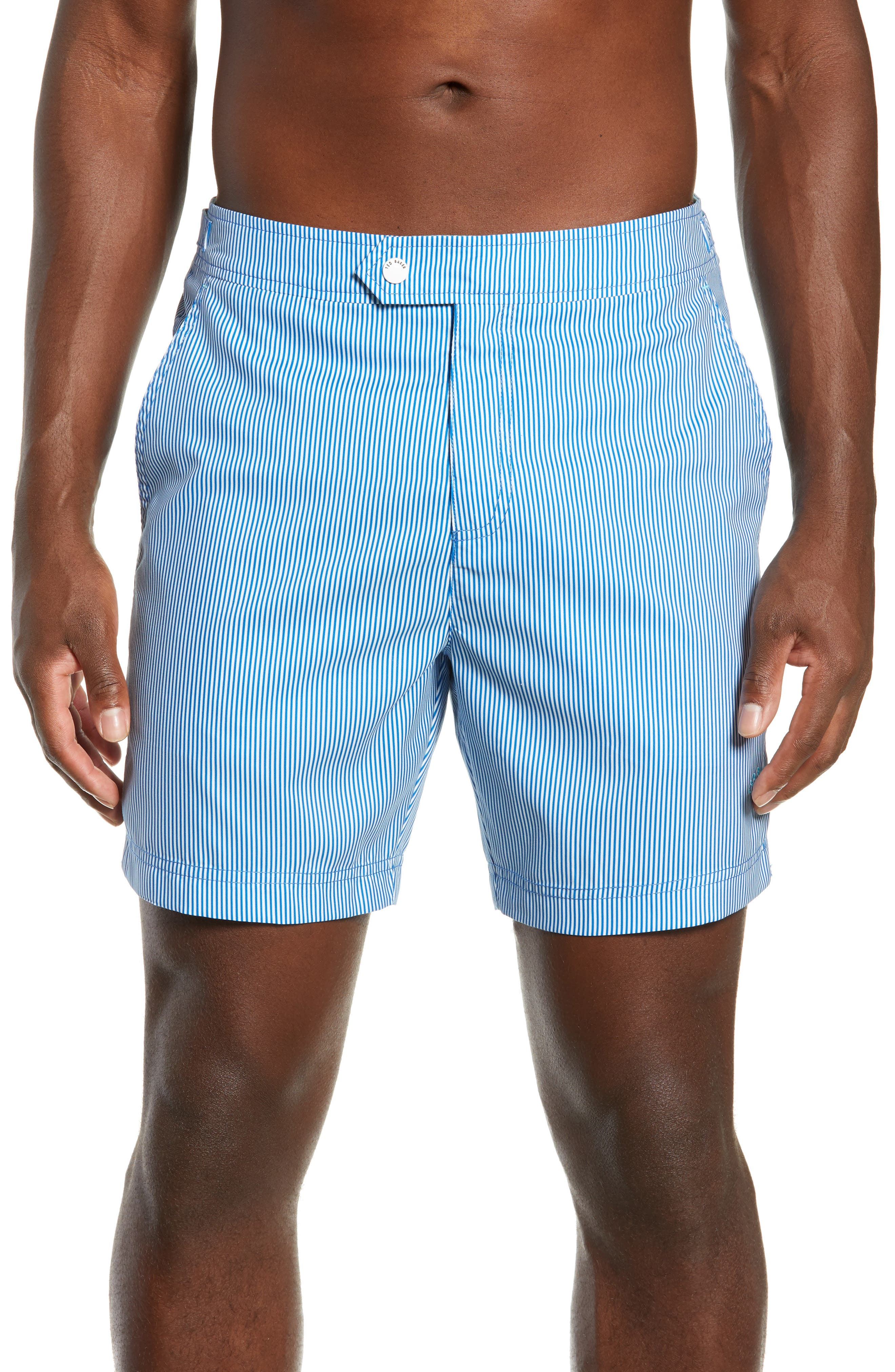 TED BAKER LONDON, Seel Stripe Swim Trunks, Main thumbnail 1, color, BLUE