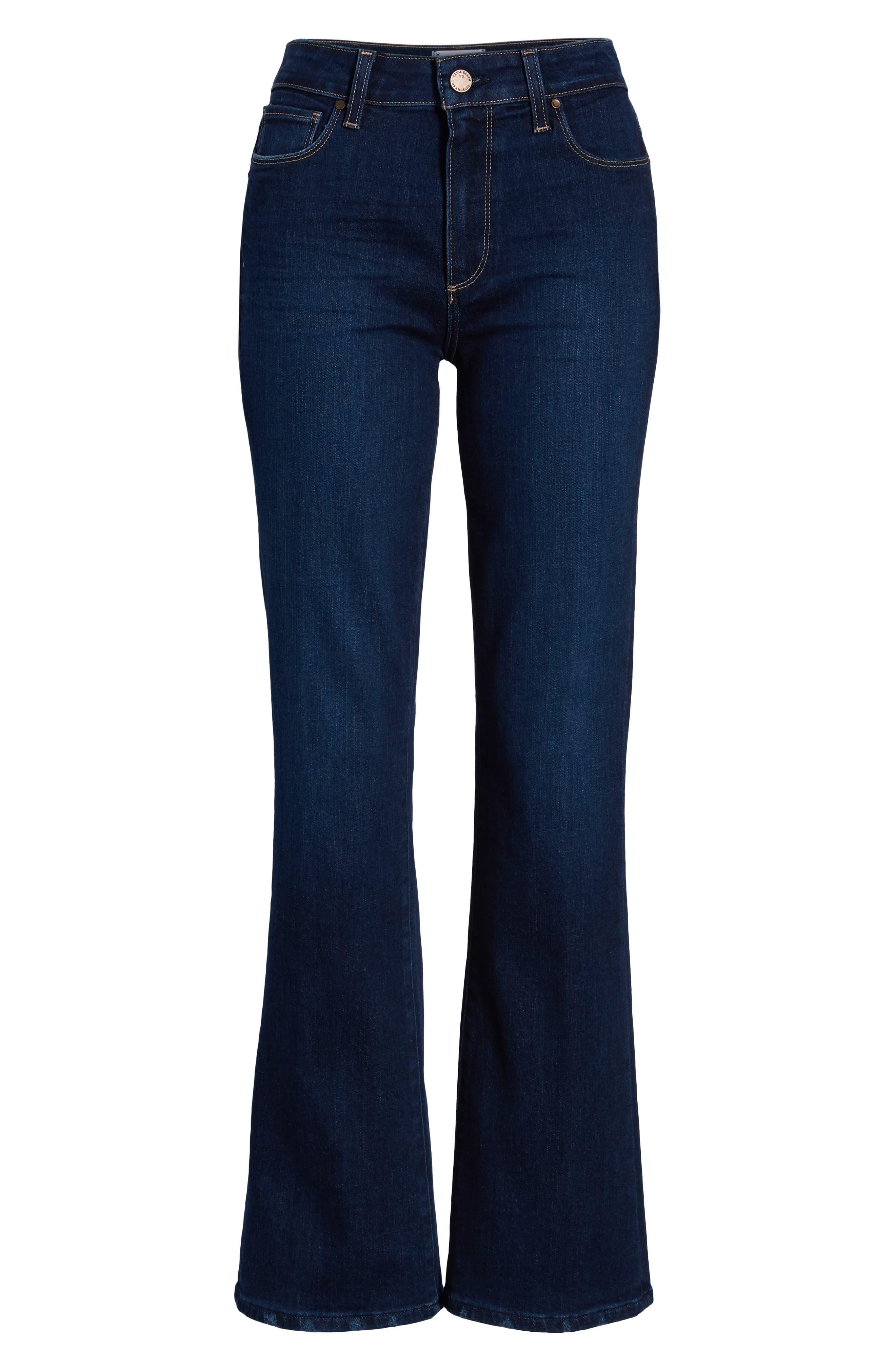 PAIGE, Transcend Vintage - Manhattan High Waist Bootcut Jeans, Alternate thumbnail 7, color, 400