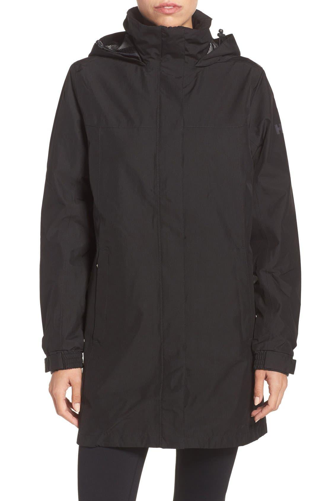 HELLY HANSEN, 'Aden' Helly Tech<sup>®</sup> Raincoat, Main thumbnail 1, color, BLACK