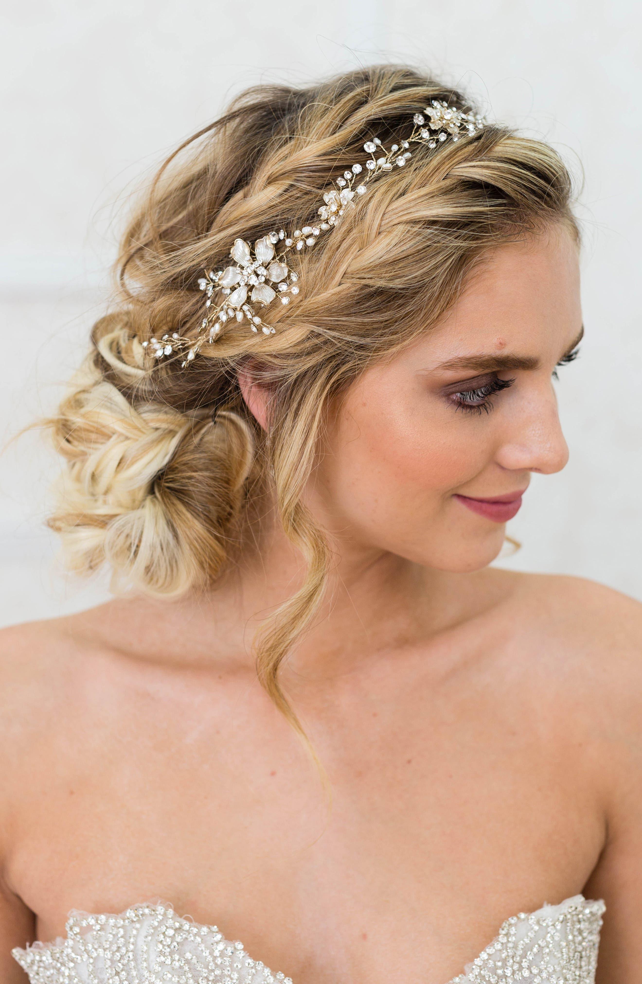 BRIDES & HAIRPINS, Atiena Embellished Floral Motif Halo & Sash, Main thumbnail 1, color, 14 K GOLD