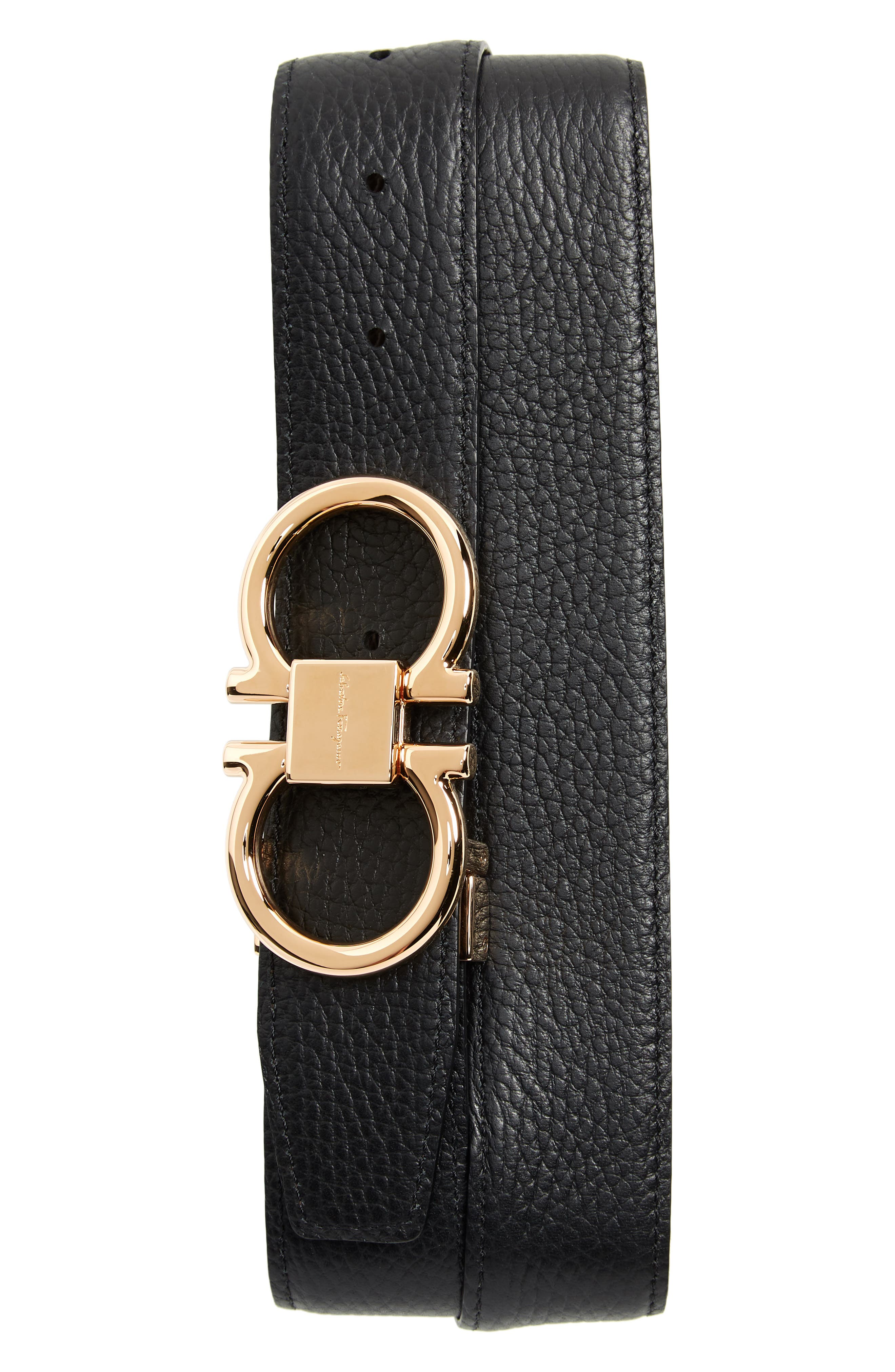 SALVATORE FERRAGAMO, Double Gancio Leather Belt, Alternate thumbnail 2, color, HICKORY/ NERO