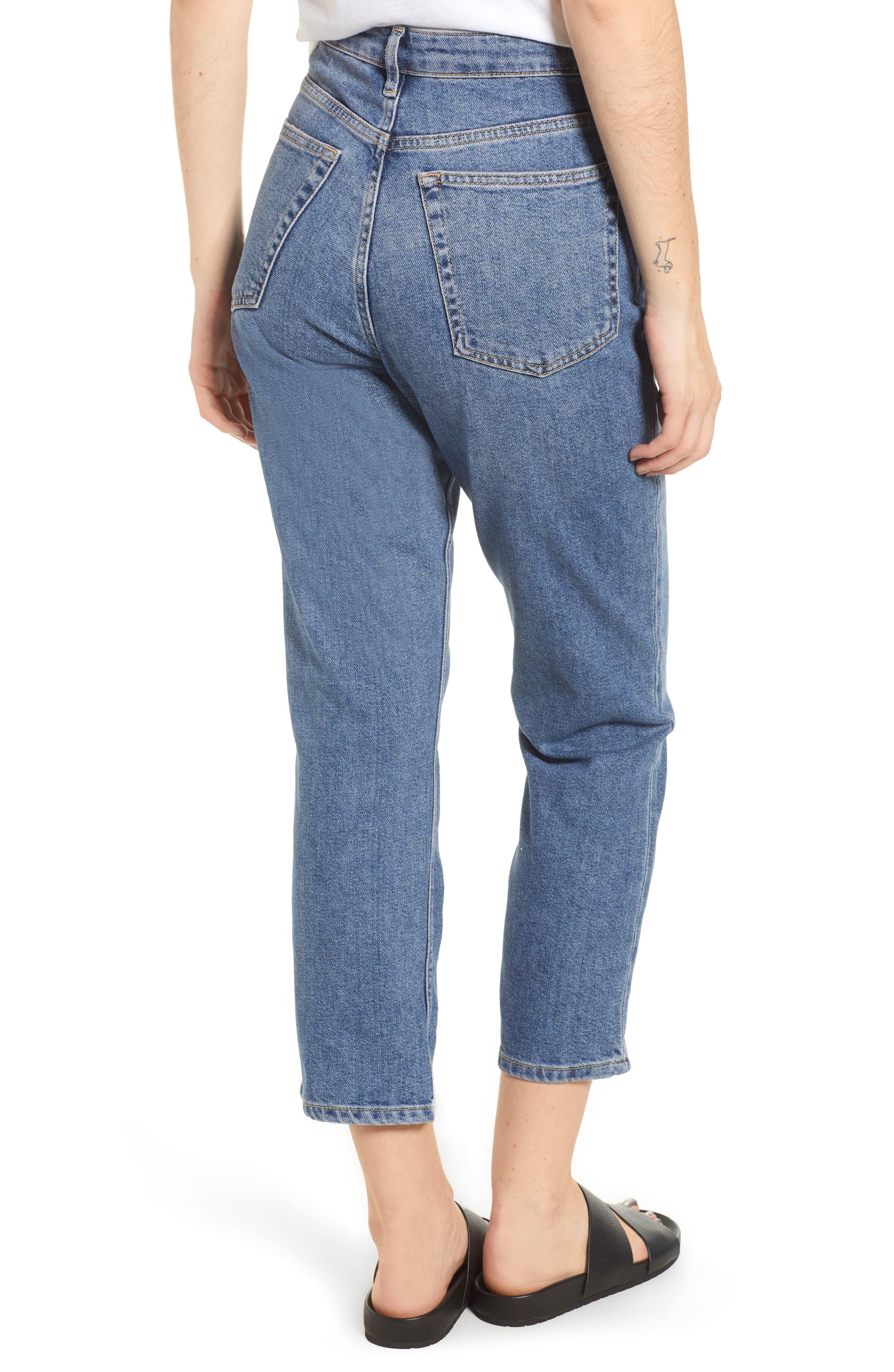 TOPSHOP, Straight Leg Jeans, Alternate thumbnail 2, color, MID DENIM