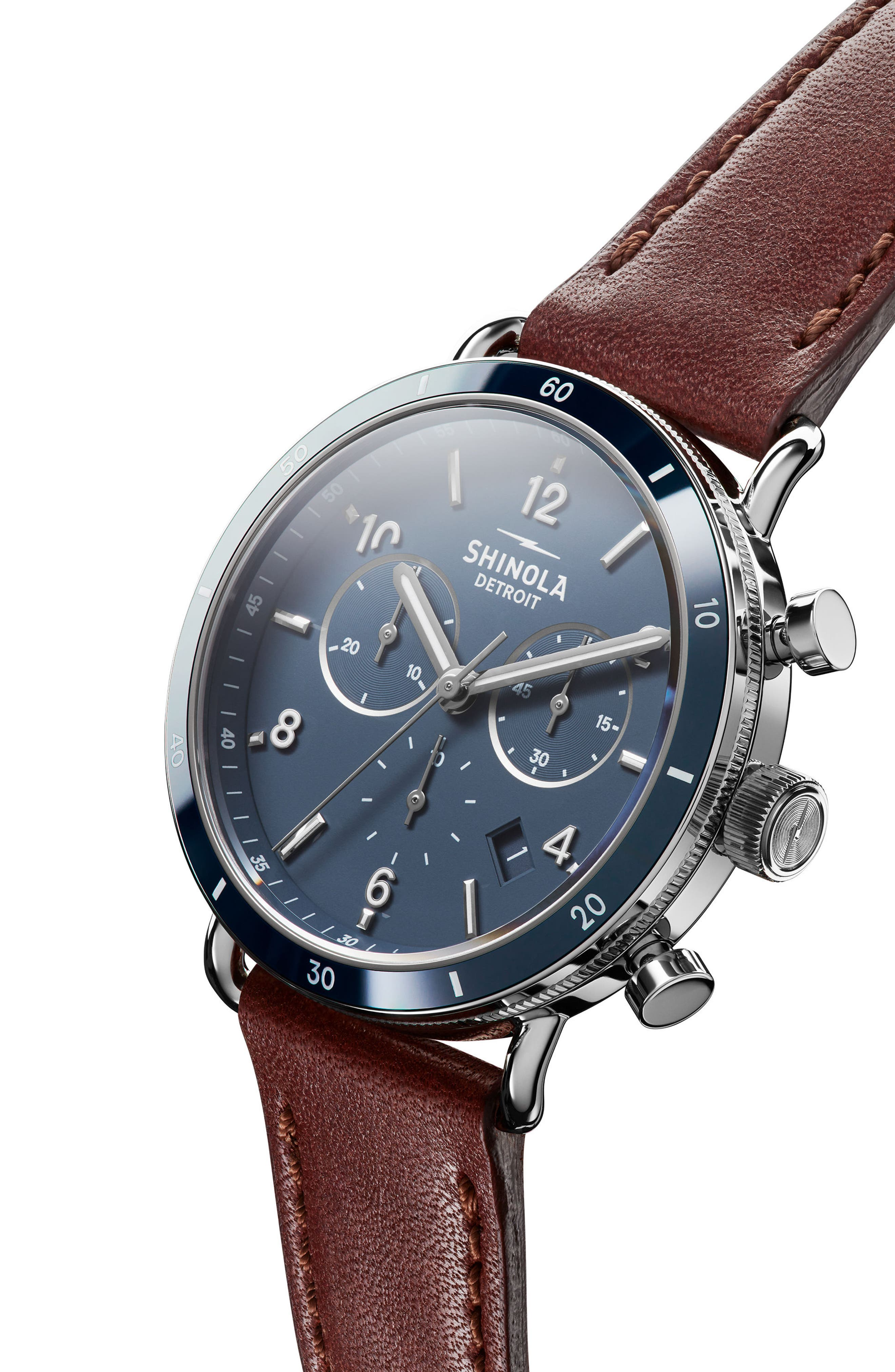 SHINOLA, The Canfield Chrono Leather Strap Watch, 40mm, Alternate thumbnail 6, color, DARK COGNAC/ BLUE/ SILVER