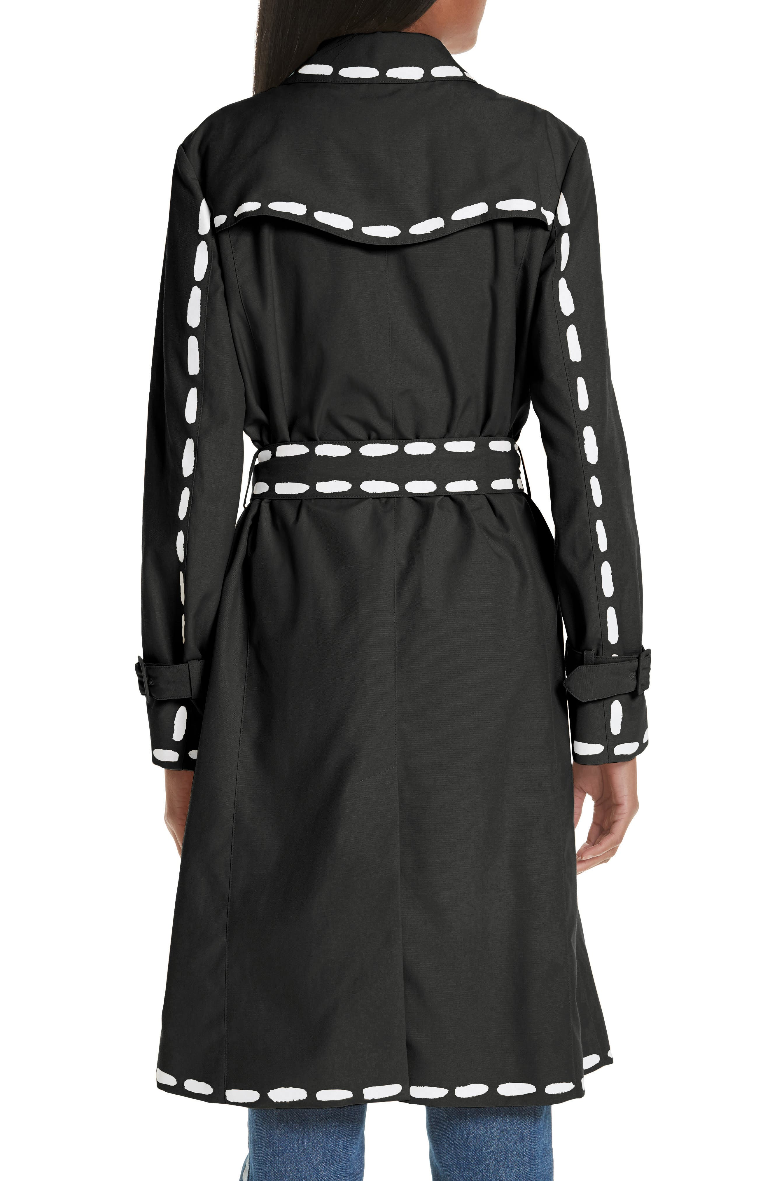 MOSCHINO, Dotted Line Trench Coat, Alternate thumbnail 2, color, BLACK