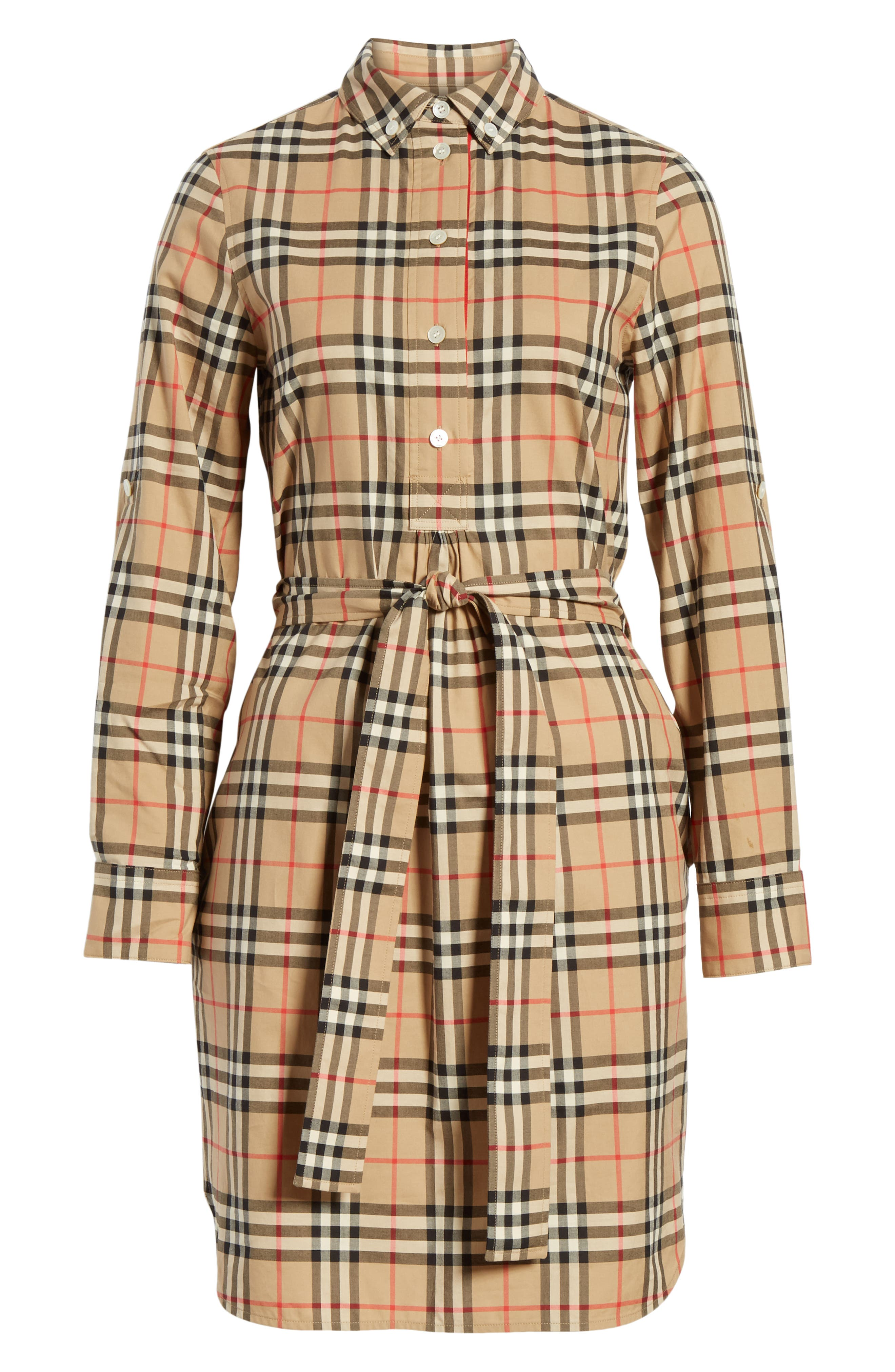 BURBERRY, Giovanna Archive Check Shirtdress, Alternate thumbnail 6, color, ARCHIVE BEIGE IP CHK