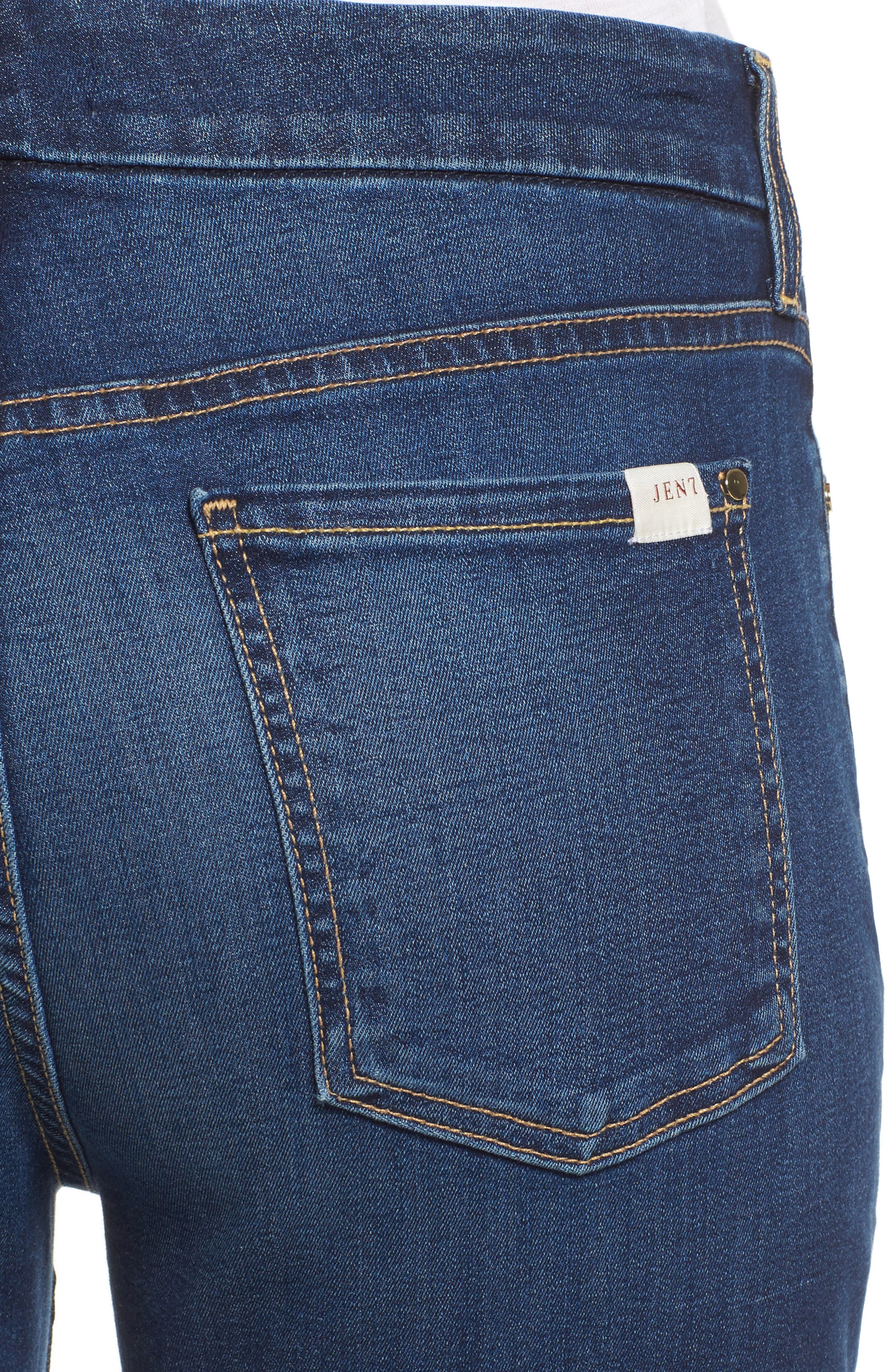 JEN7 BY 7 FOR ALL MANKIND, Slim Bootcut Jeans, Alternate thumbnail 4, color, RICHE TOUCH MEDIUM BLUE