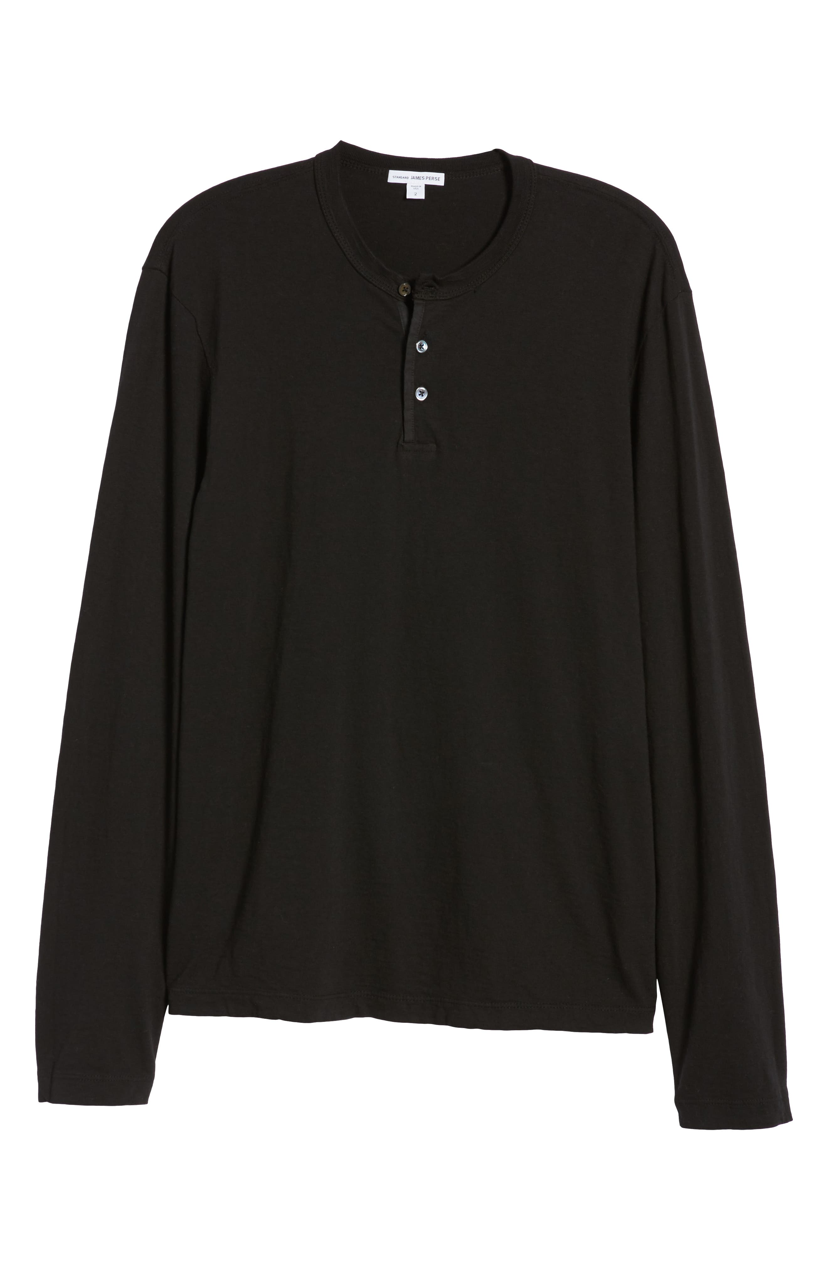 JAMES PERSE, Slim Fit Long Sleeve Henley, Alternate thumbnail 6, color, 001