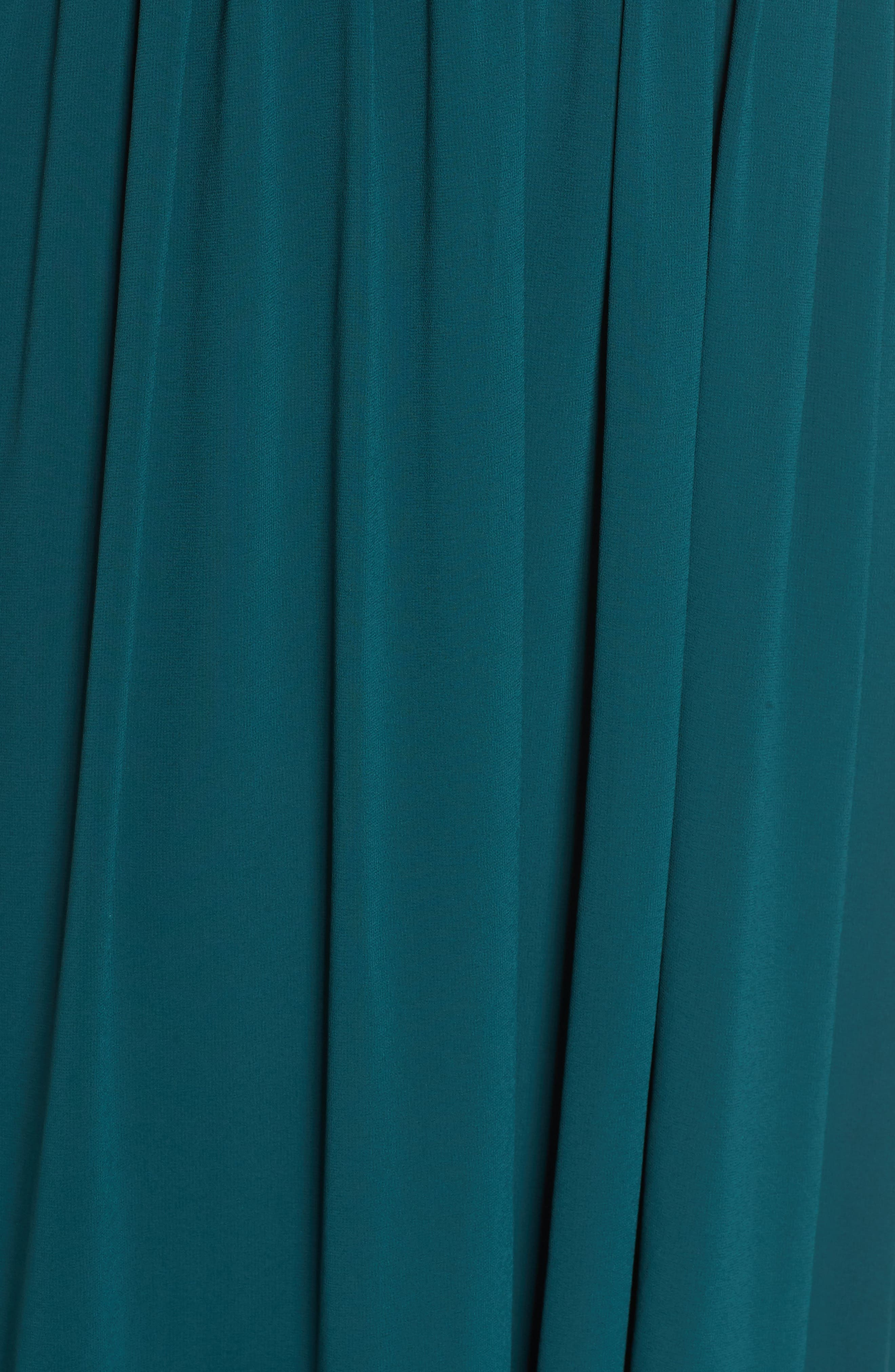 LULUS, Convertible Neckline Chiffon Gown, Alternate thumbnail 5, color, DEEP EMERALD