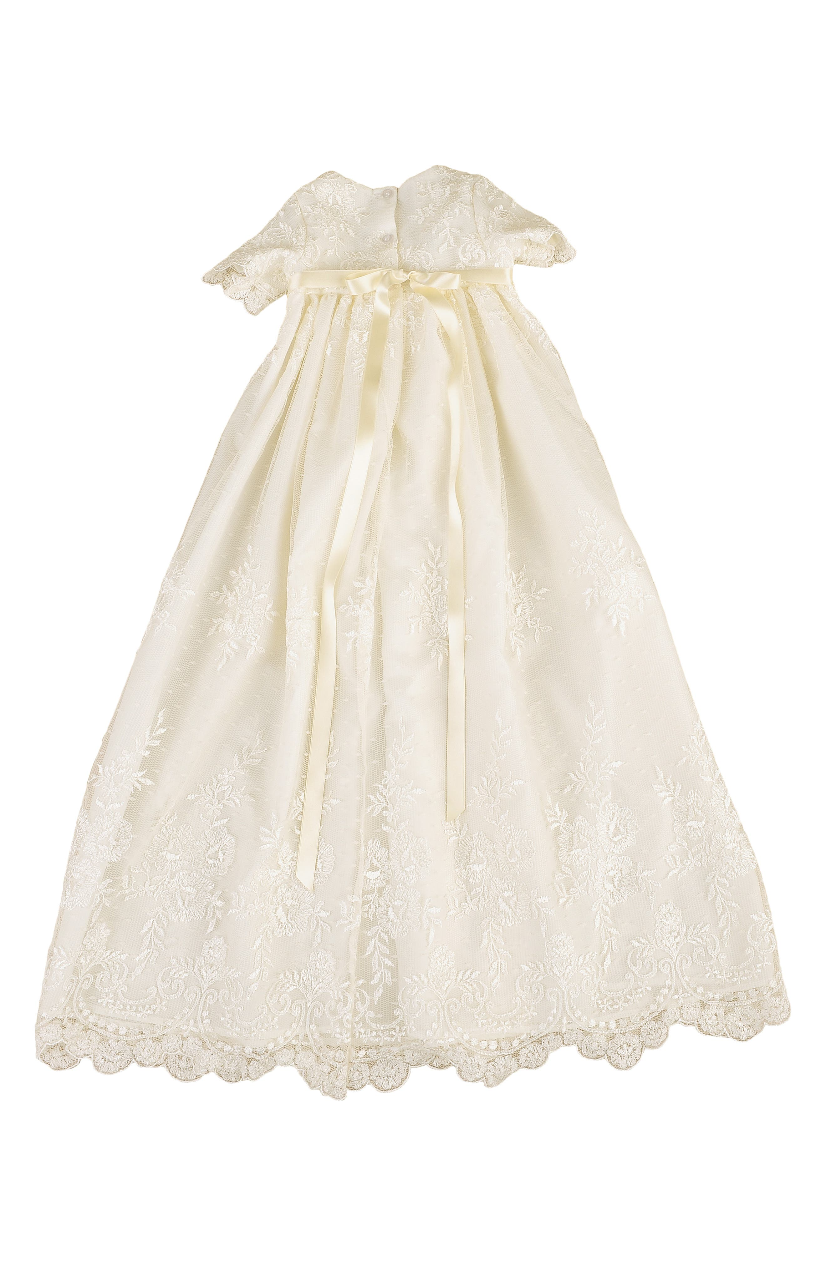 LITTLE THINGS MEAN A LOT, Christening Gown, Shawl, Slip & Bonnet Set, Alternate thumbnail 2, color, IVORY