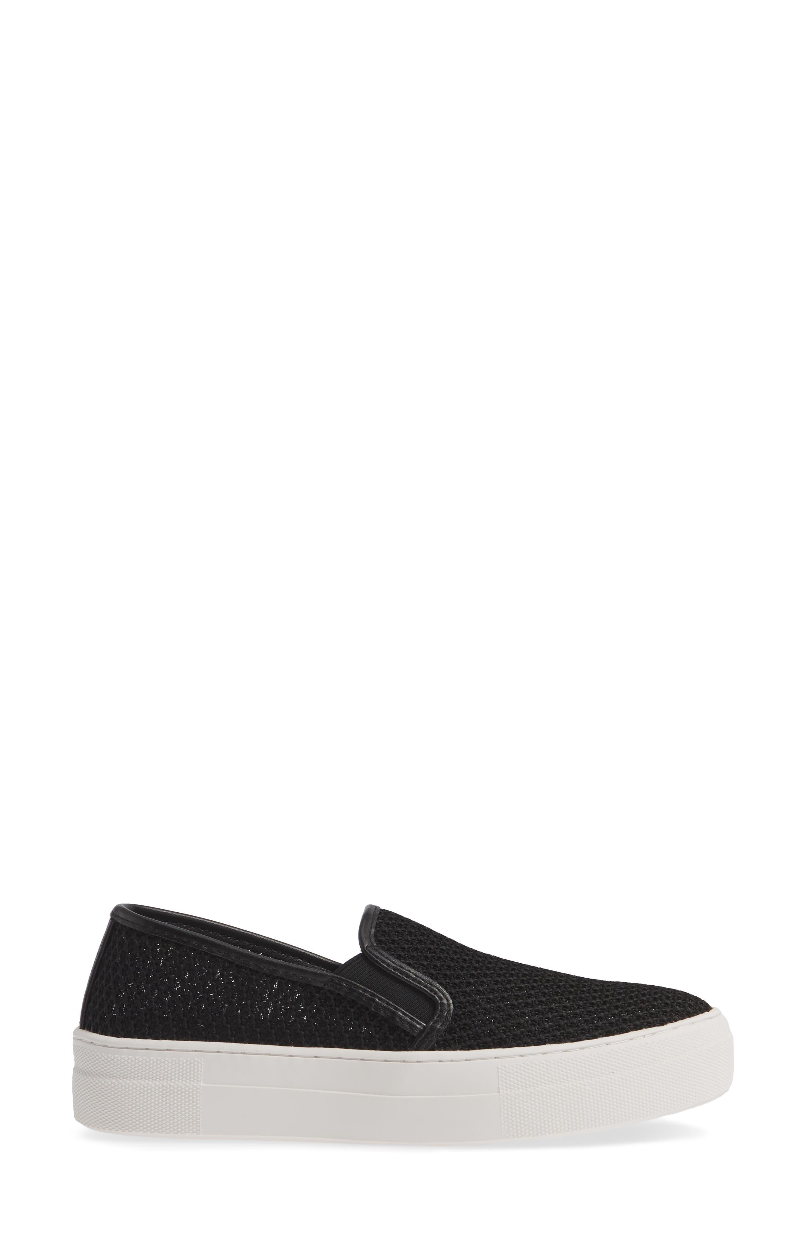 STEVE MADDEN, Gills-M Mesh Slip-On Sneaker, Alternate thumbnail 3, color, BLACK
