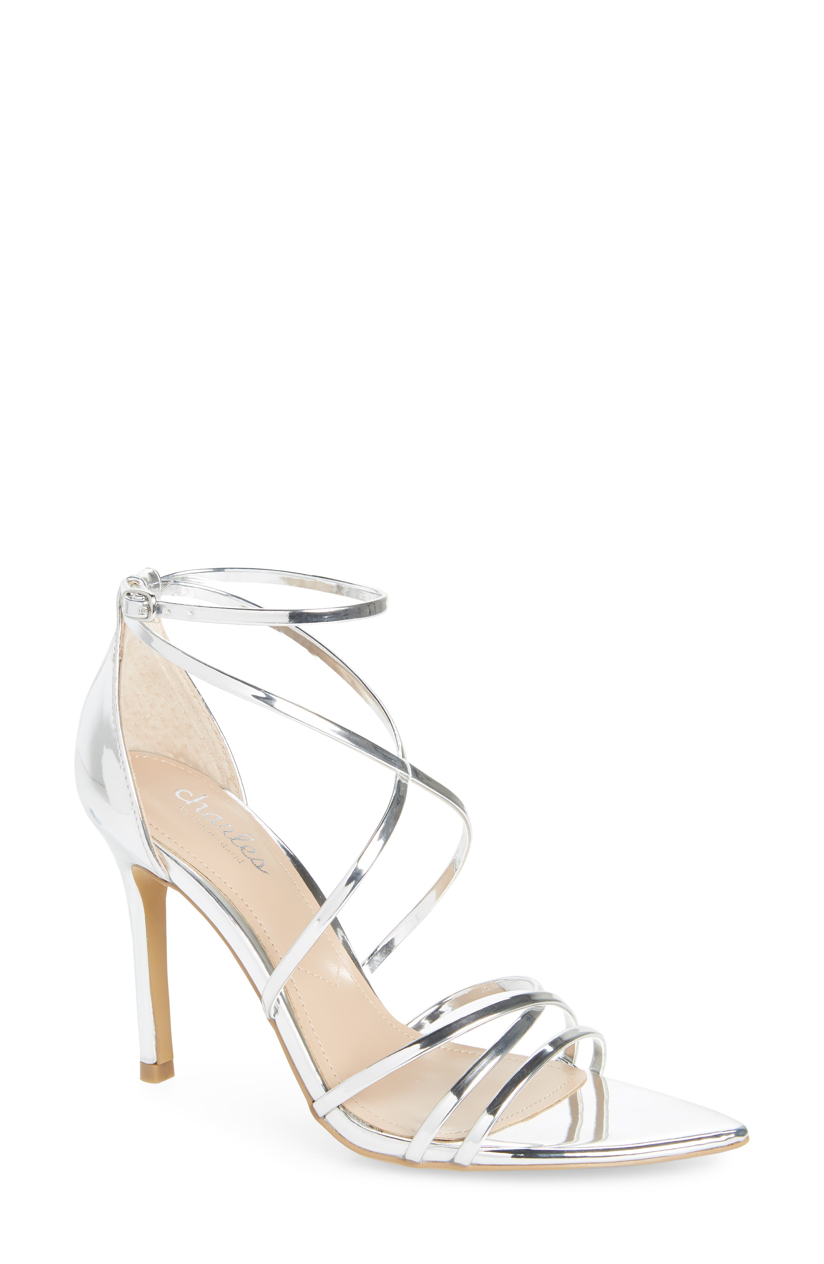 CHARLES BY CHARLES DAVID, Trickster Strappy Sandal, Main thumbnail 1, color, SILVER FAUX LEATHER