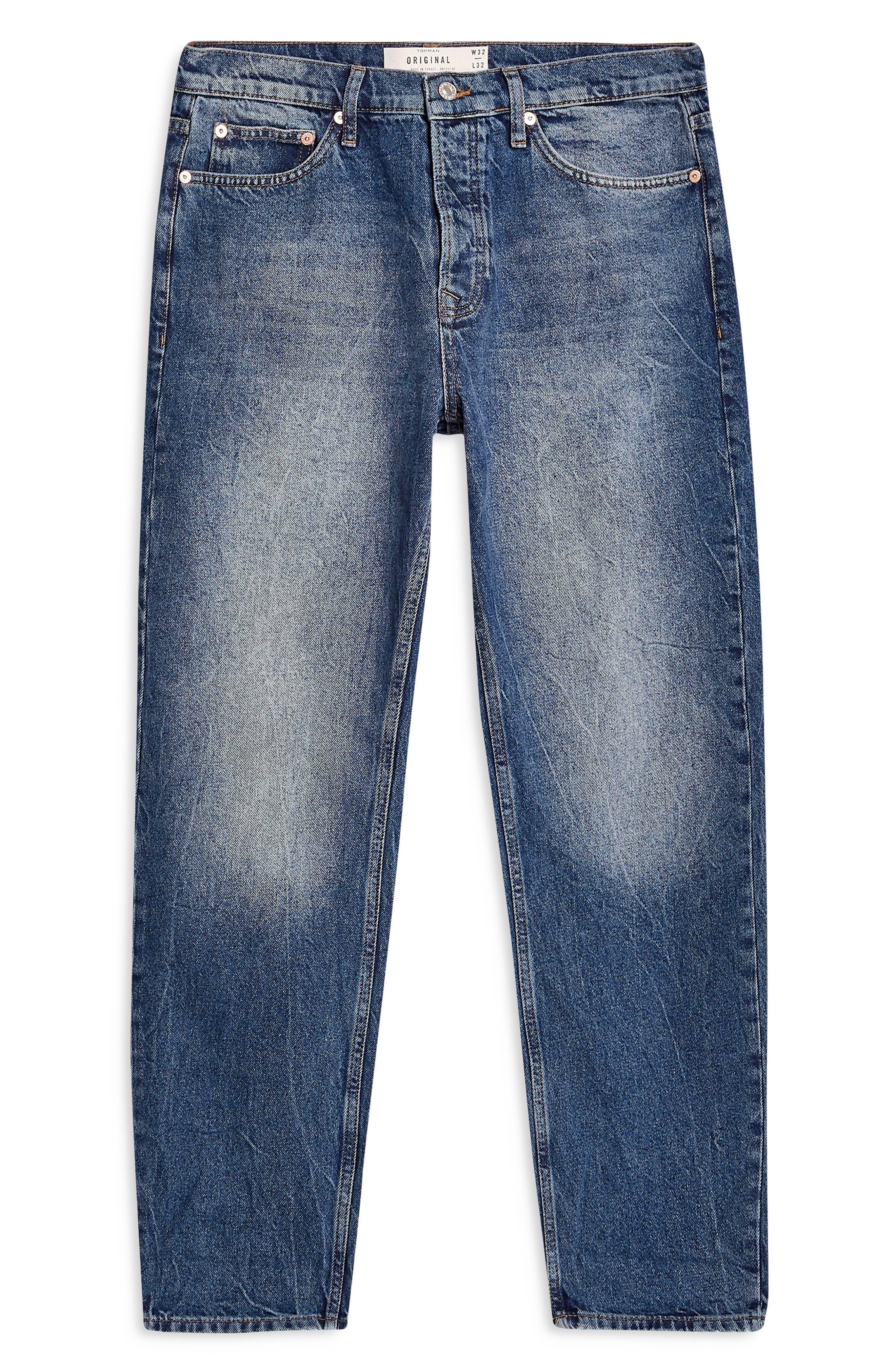 TOPMAN, Billy Original Fit Jeans, Alternate thumbnail 3, color, BLUE