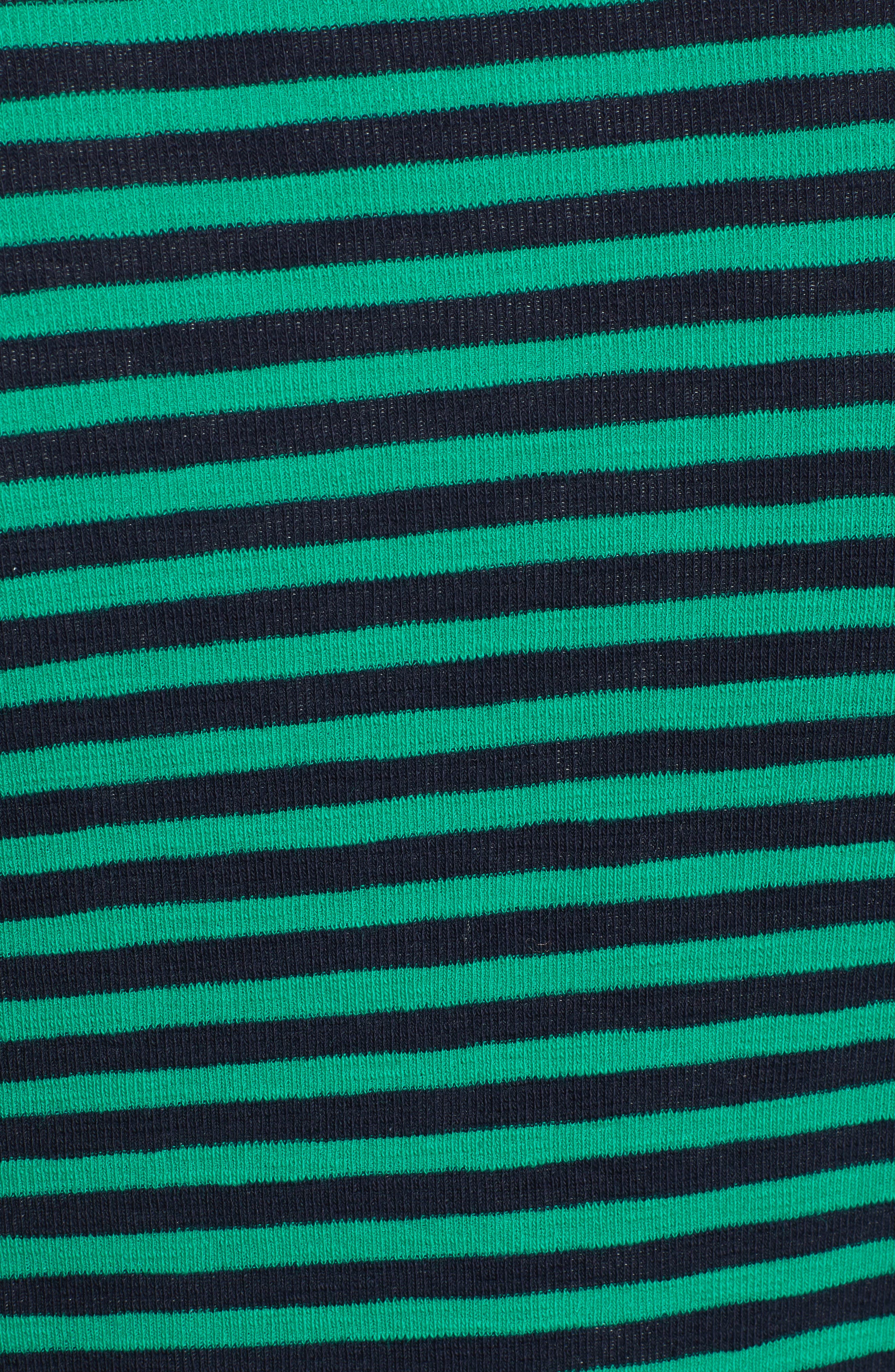 &.LAYERED, Twist Front Stripe Stretch Cotton Tee, Alternate thumbnail 5, color, NAVY/ GREEN